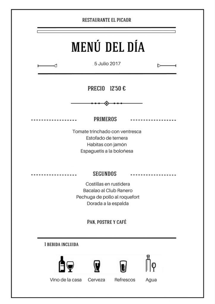 Menú diario - Restaurante El Picaor