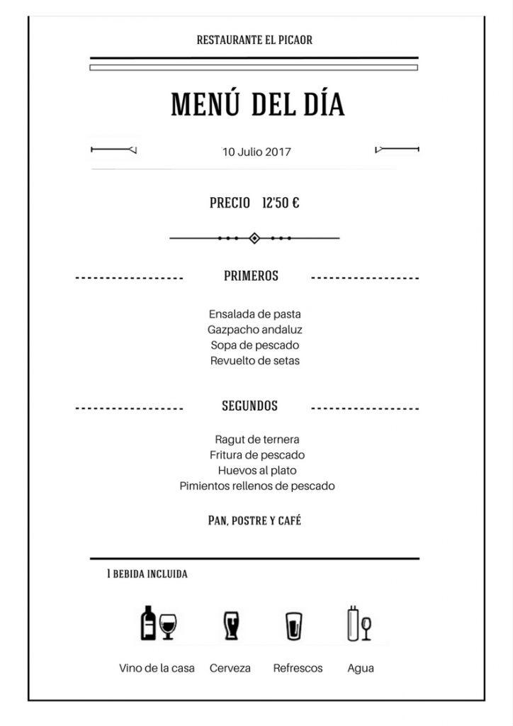 Menú diario El Picaor