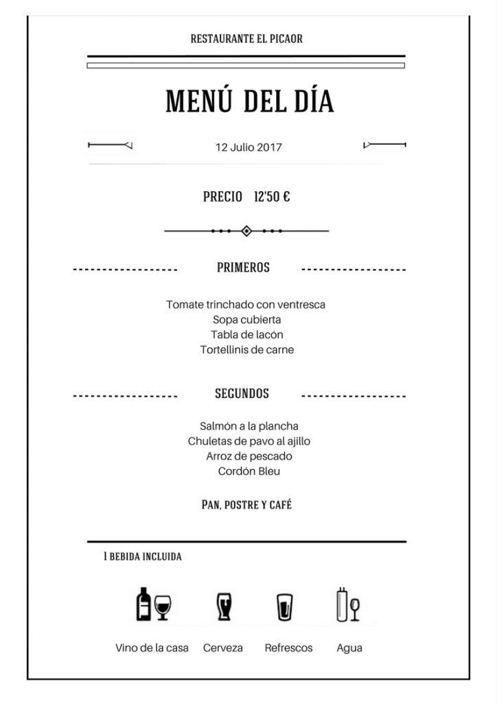 Menu diario | Restaurante El Picaor