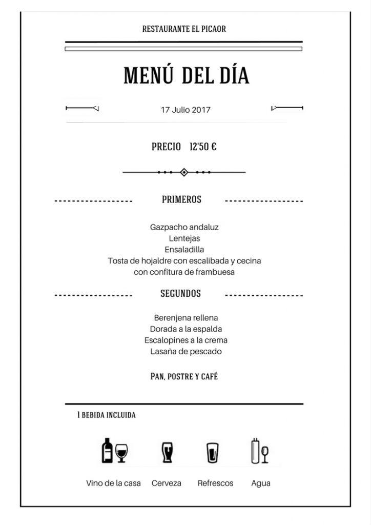 Menú diario   Restaurante El PIcaor