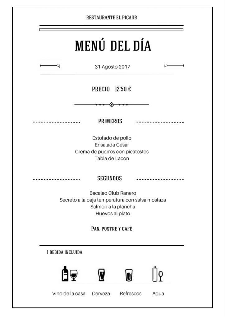Menú 31 Agosto - Restaurante el Picaor