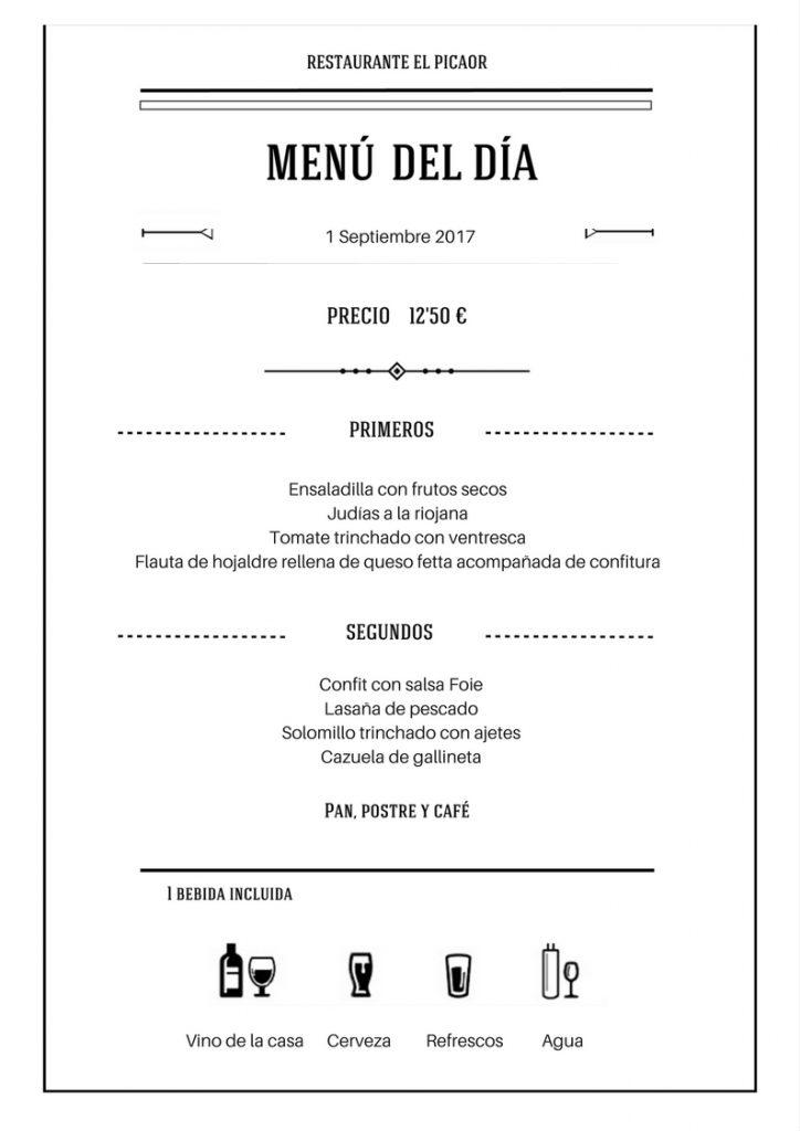 Menú 1 Septiembre - Restaurante el Picaor