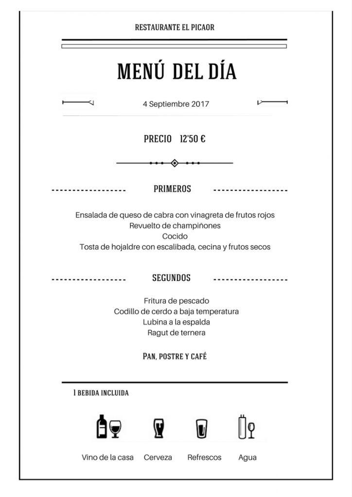 Menú 4 Septiembre - Restaurante el Picaor