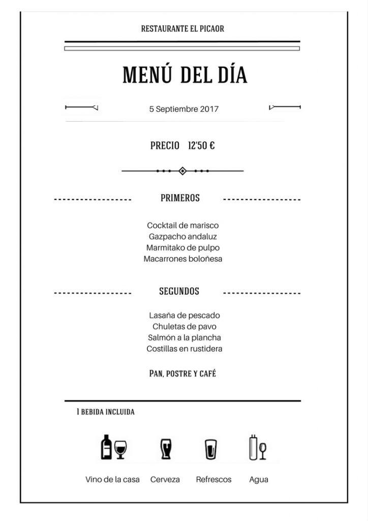 Menú 5 Septiembre - Restaurante el Picaor