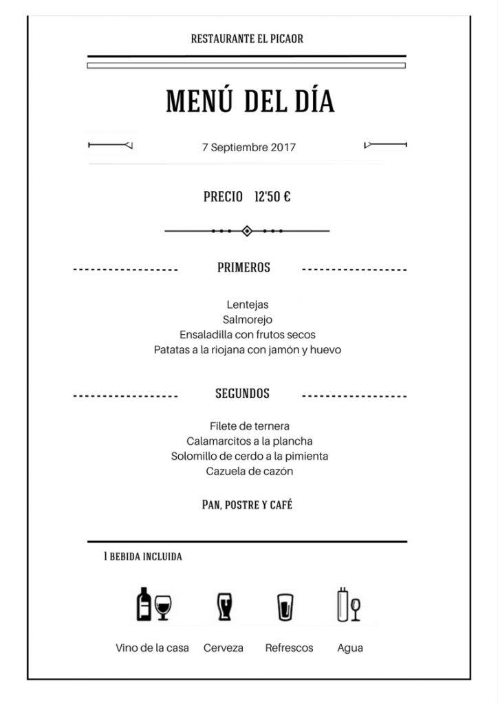 Menú 7 Septiembre - Restaurante el Picaor