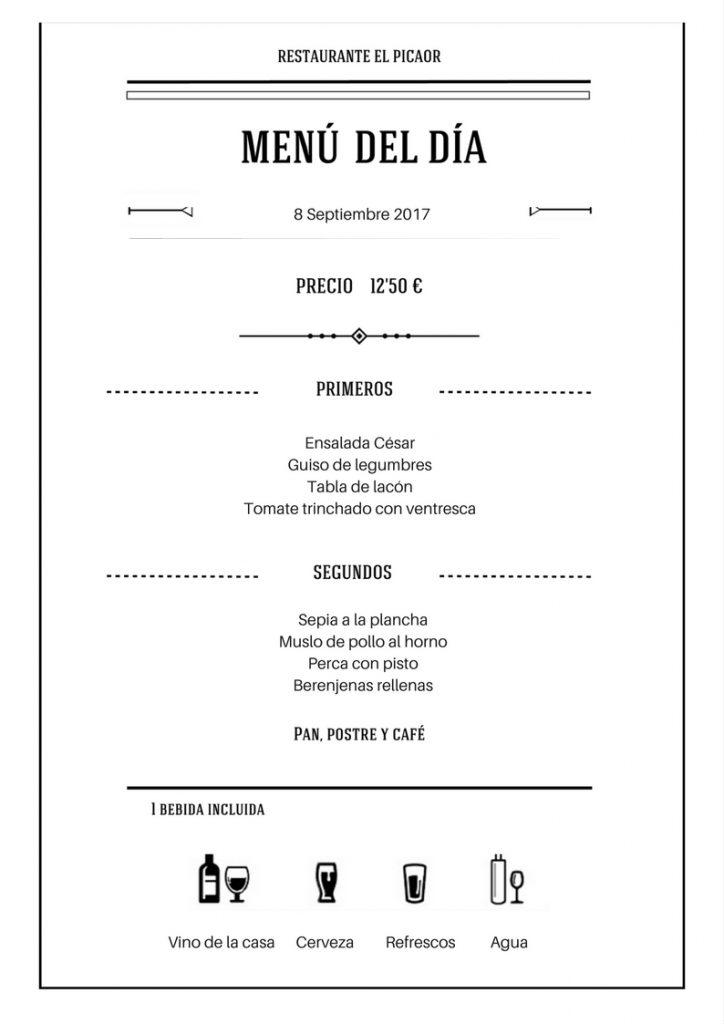 Menú 9 Septiembre - Restaurante el Picaor
