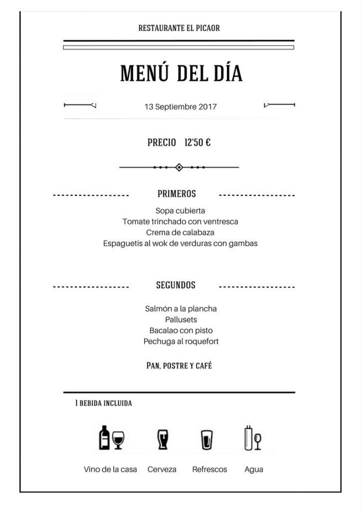 Menú diario del Restaurante El Picaor