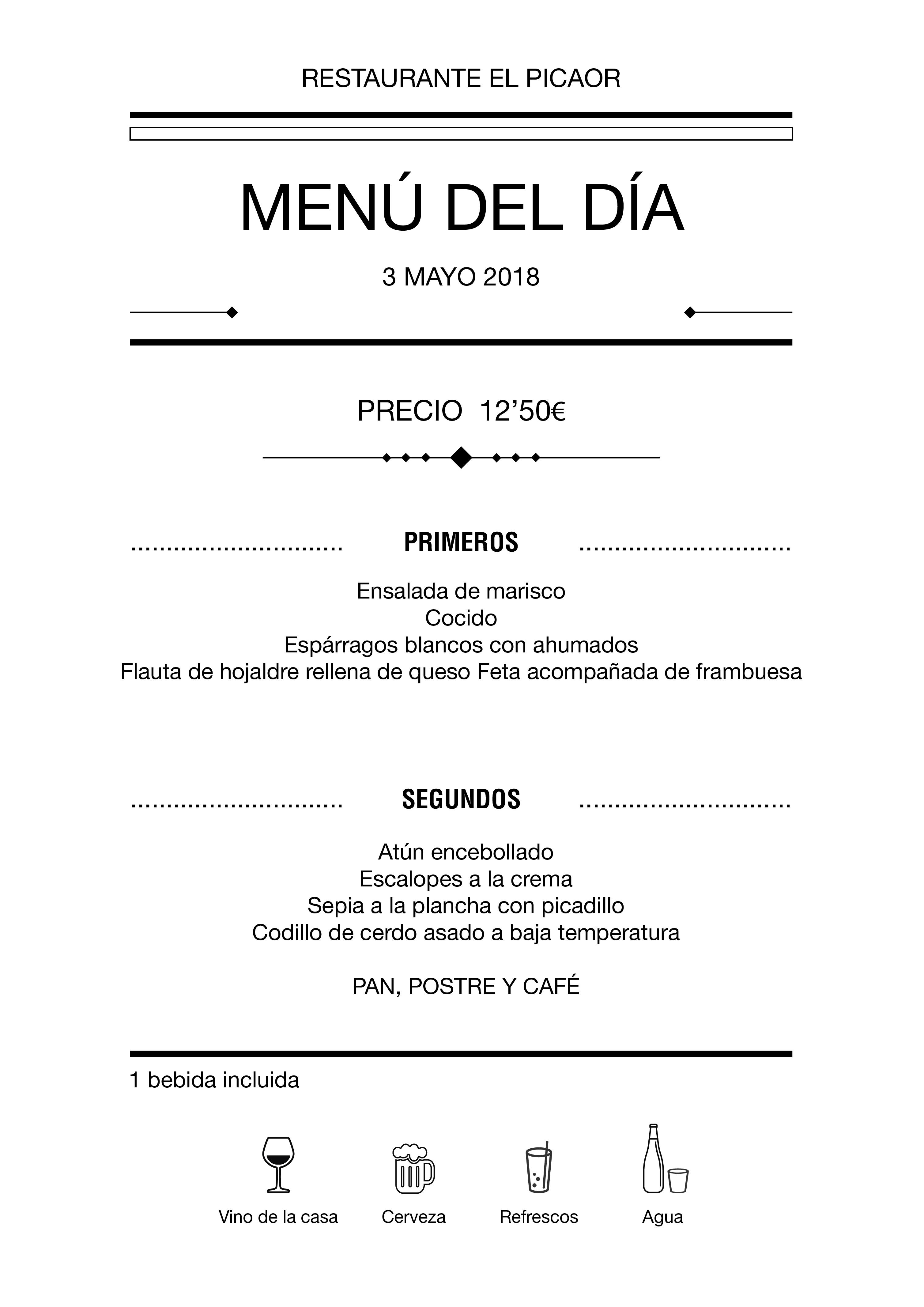 Menú diario El Picaor 03/05/18