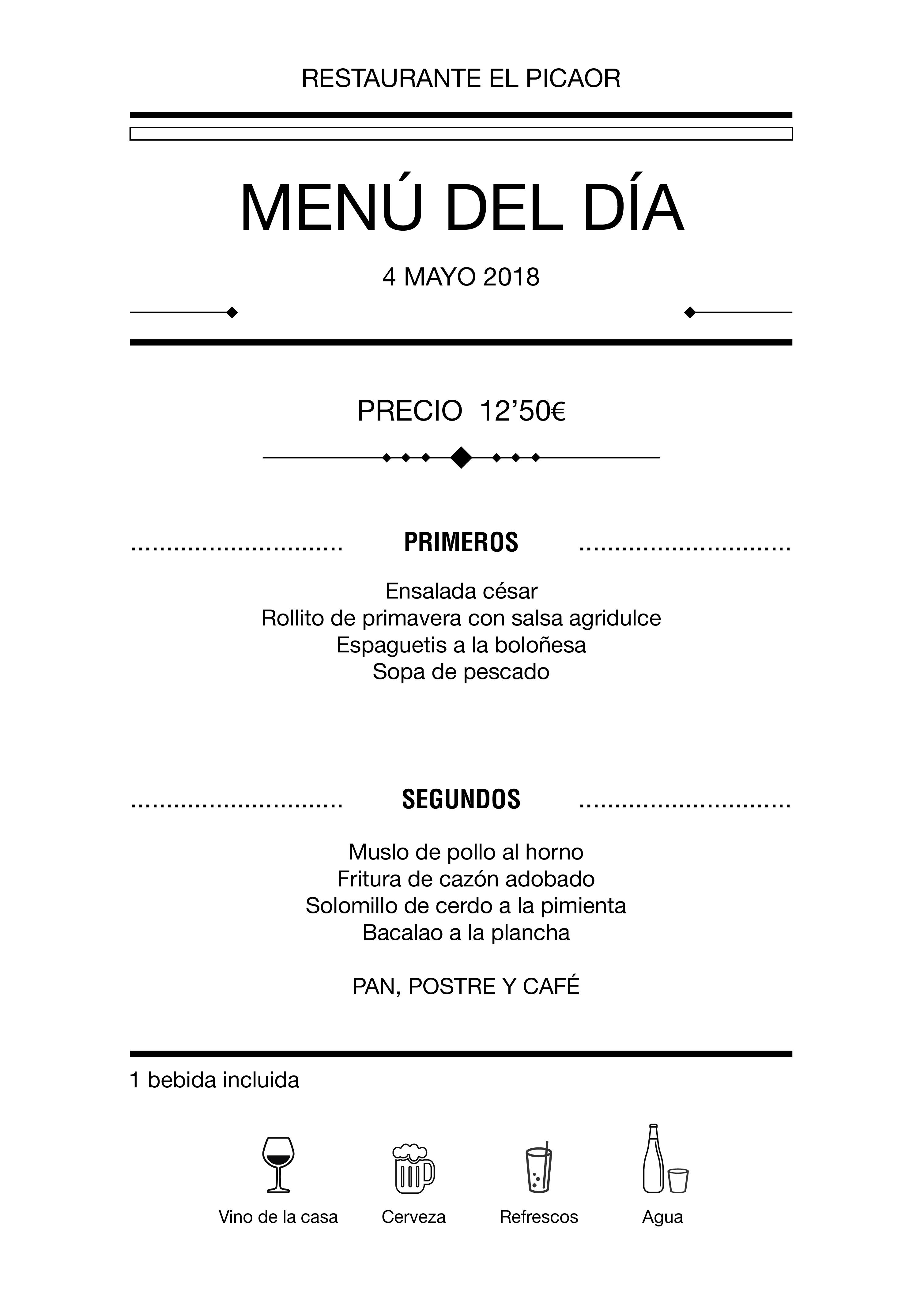 Menú diario El Picaor 04/05/18
