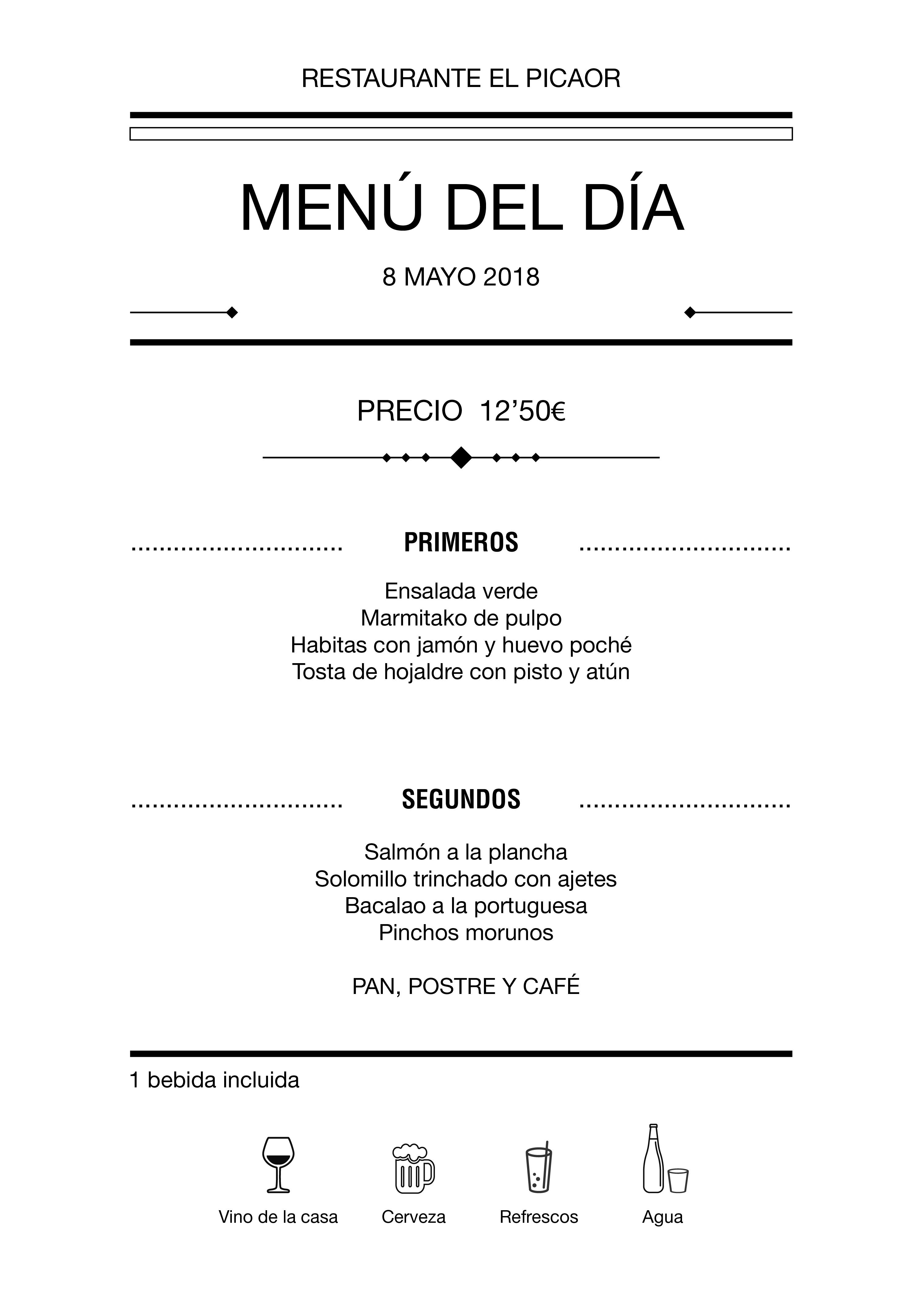 Menú diario El Picaor 07/05/18