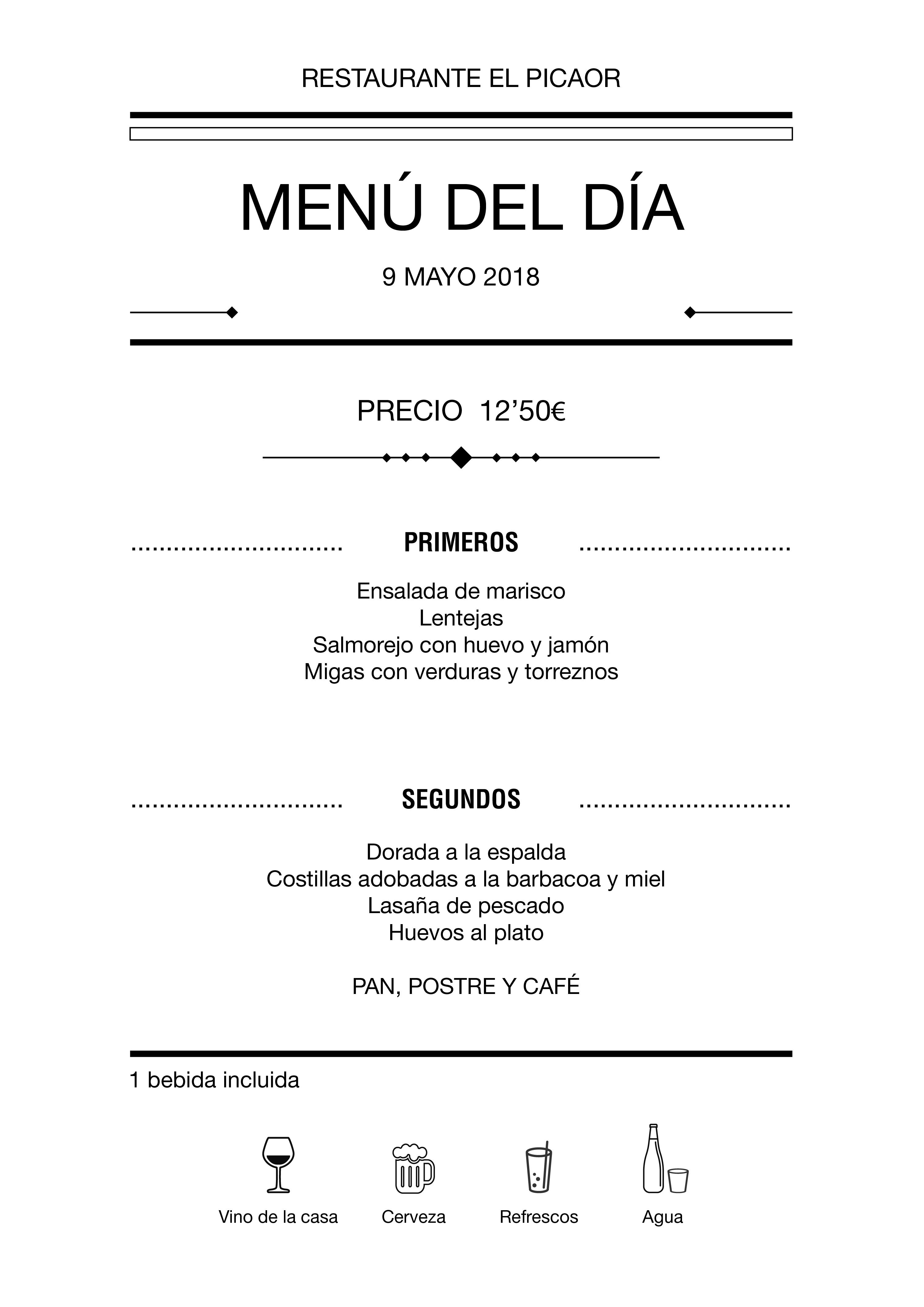 Menú diario El Picaor 09/05/18
