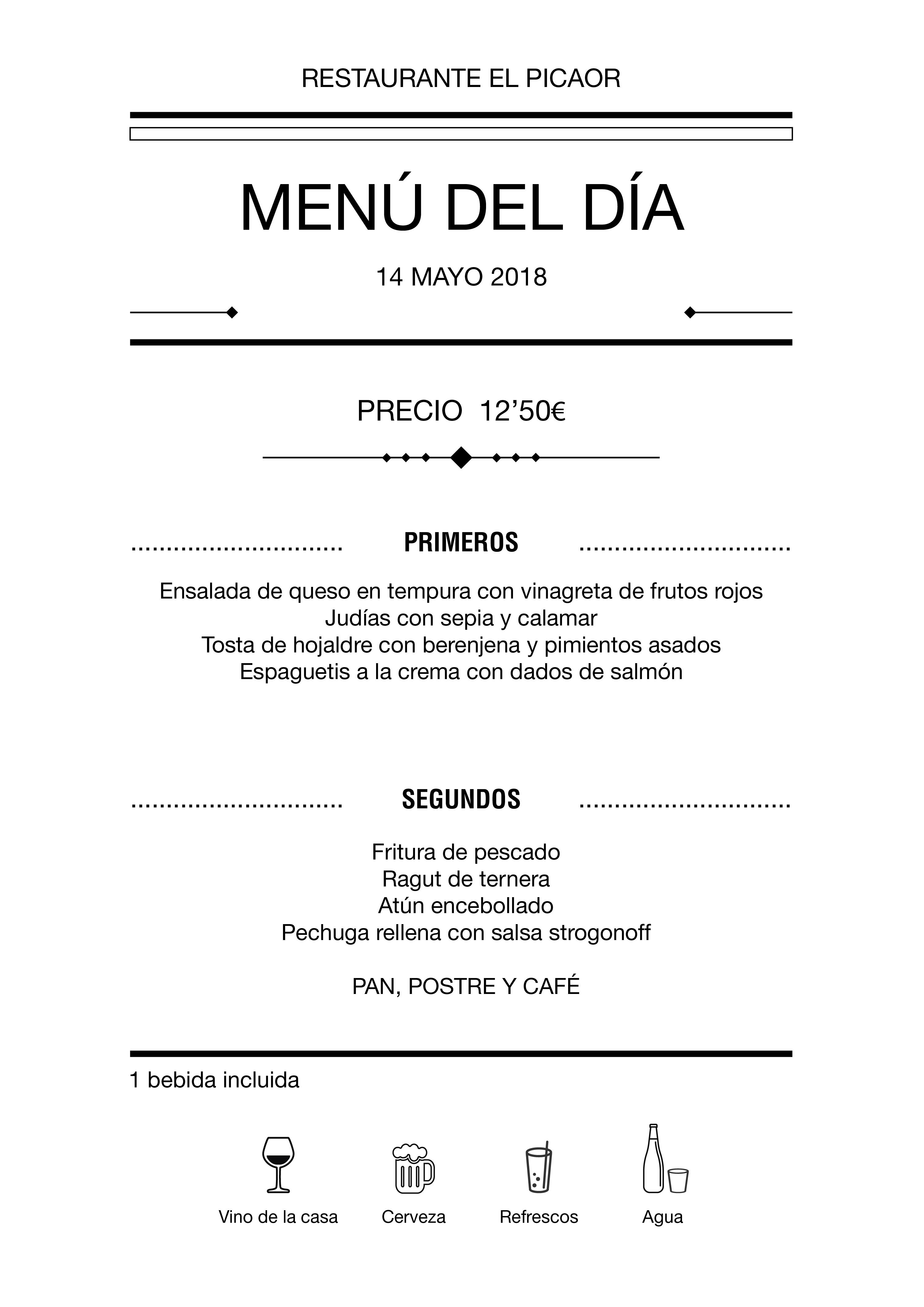 Menú diario El Picaor 14/05/18