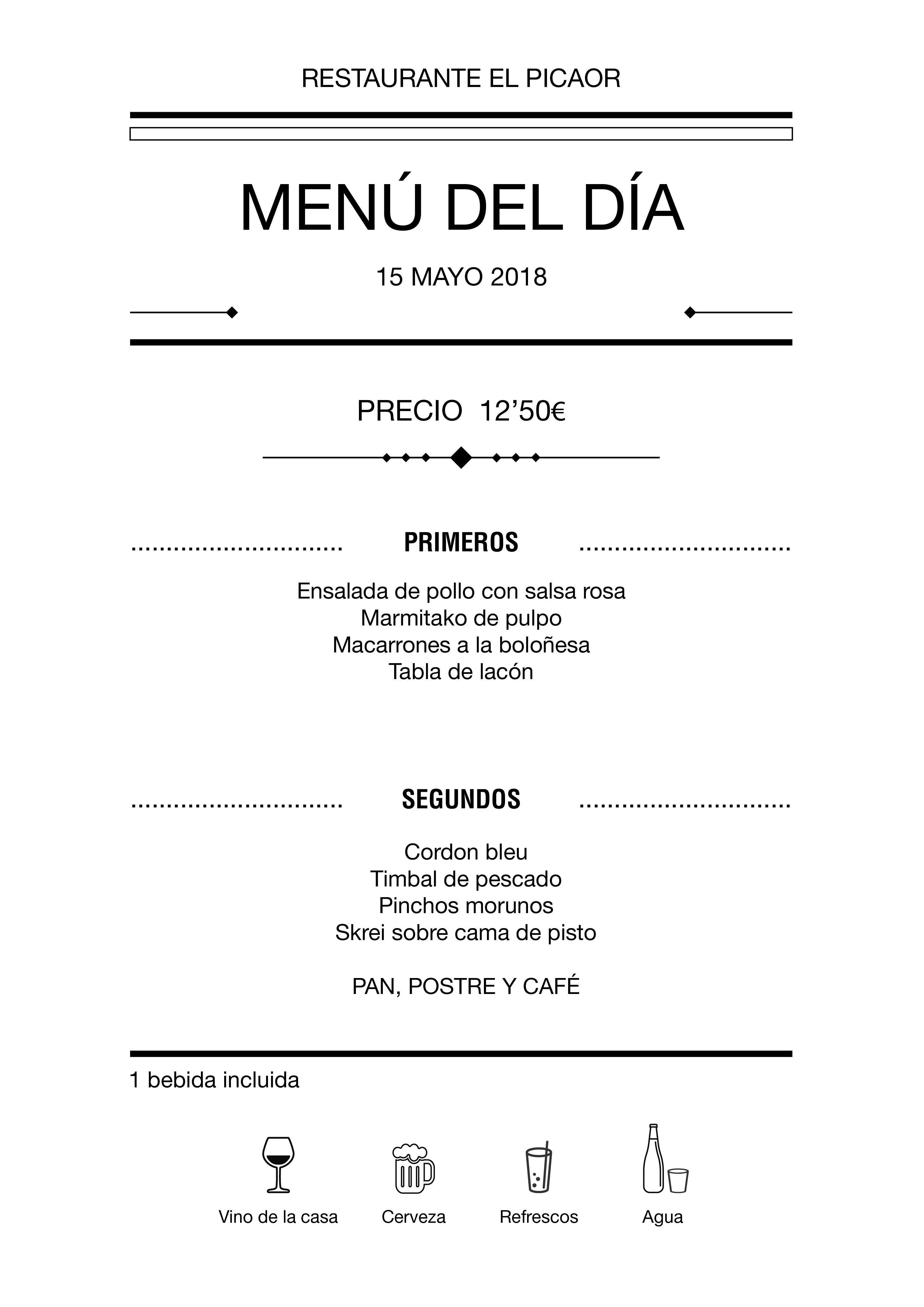 Menú diario El Picaor 15/05/18