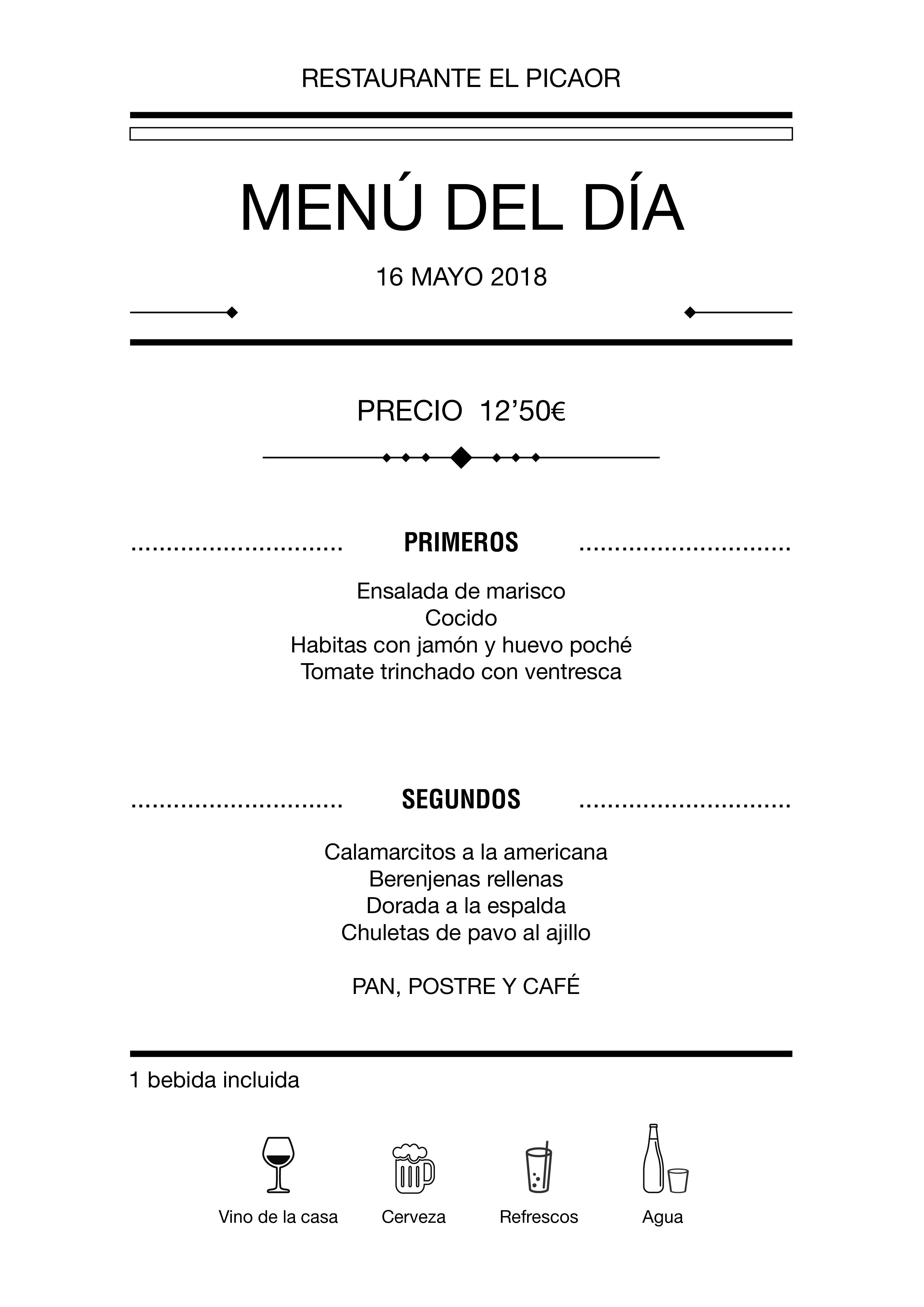 Menú diario El Picaor 16/05/18