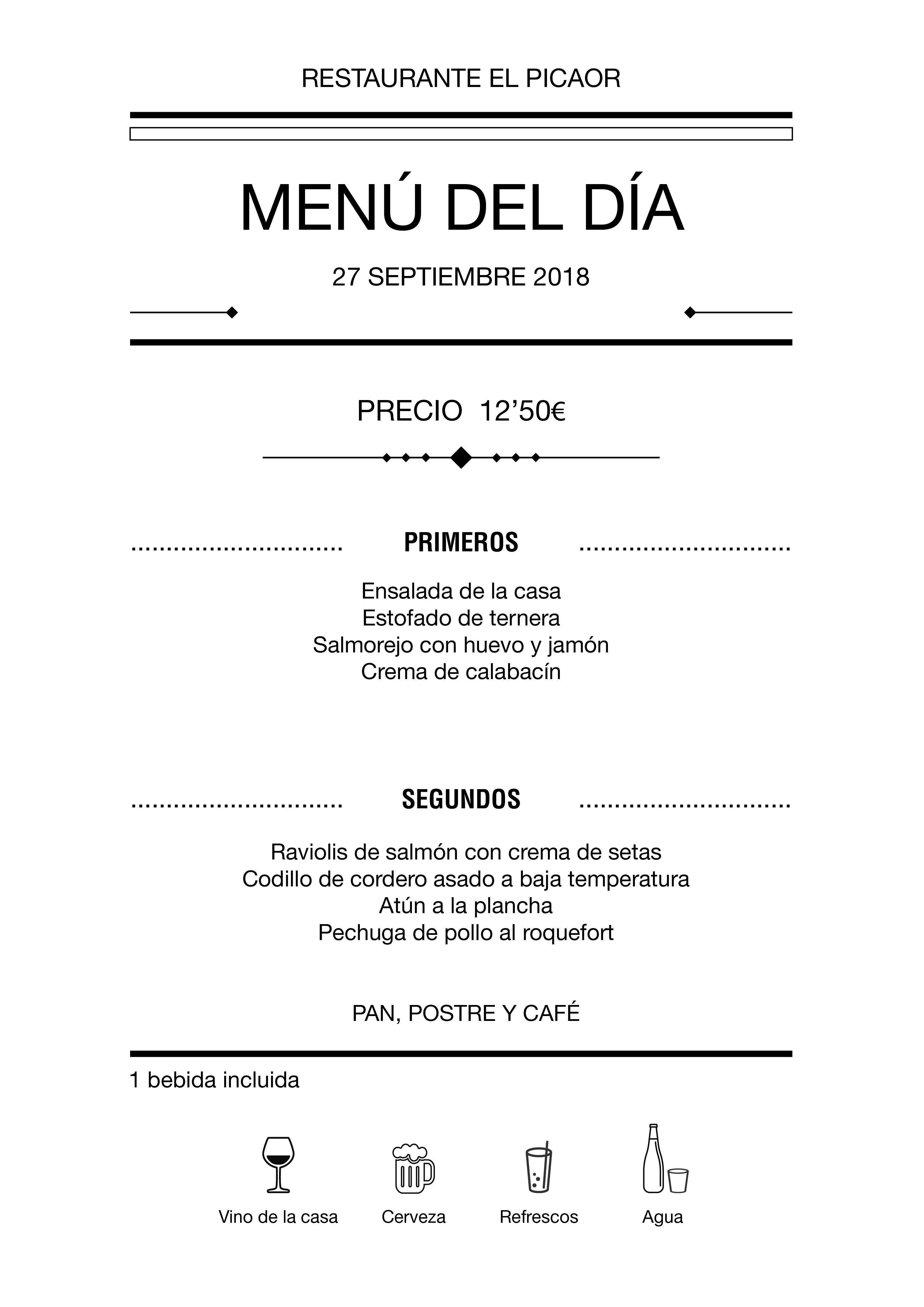 Menú diario El Picaor 27/09/18