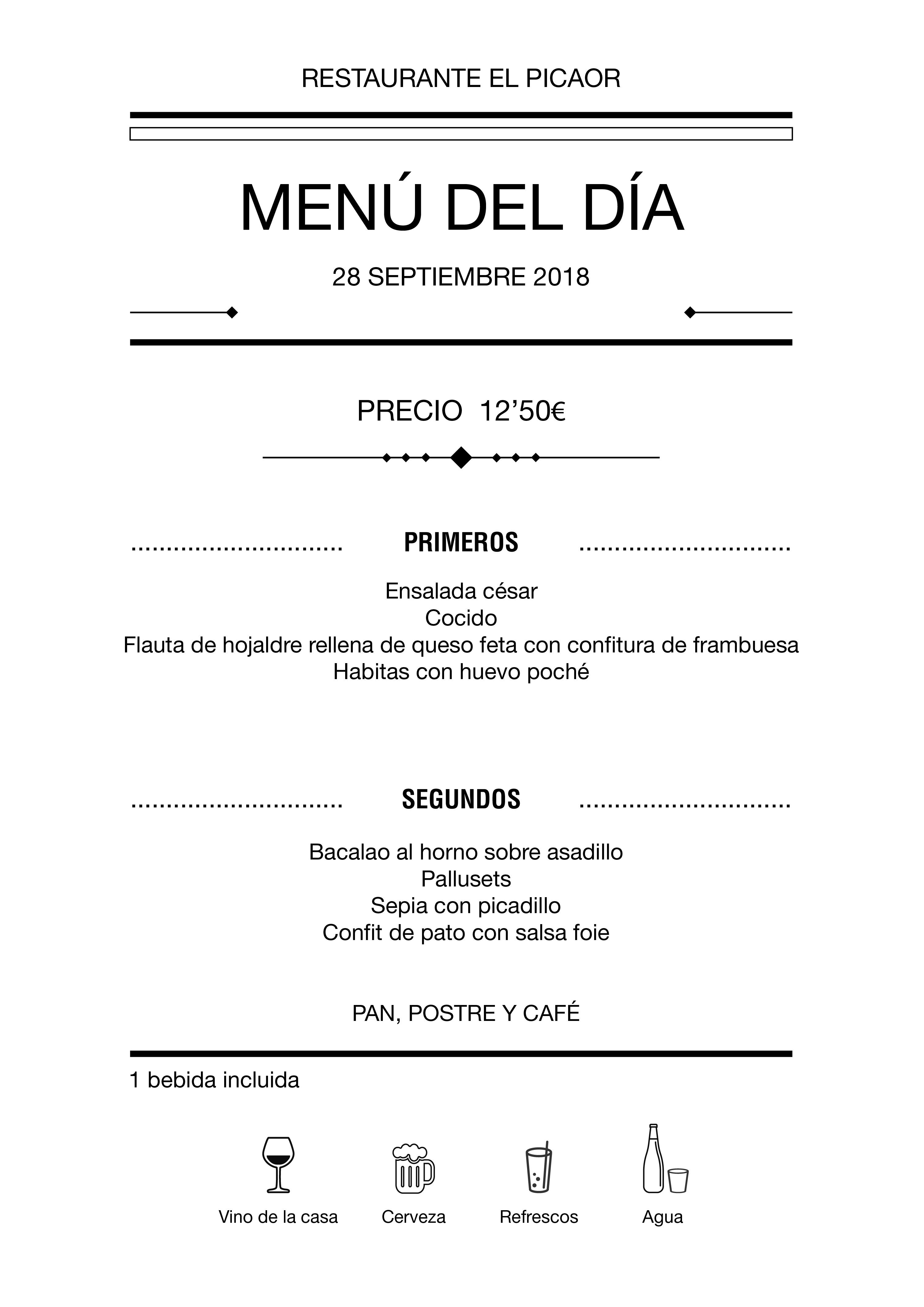 Menú diario El Picaor 28/09/18