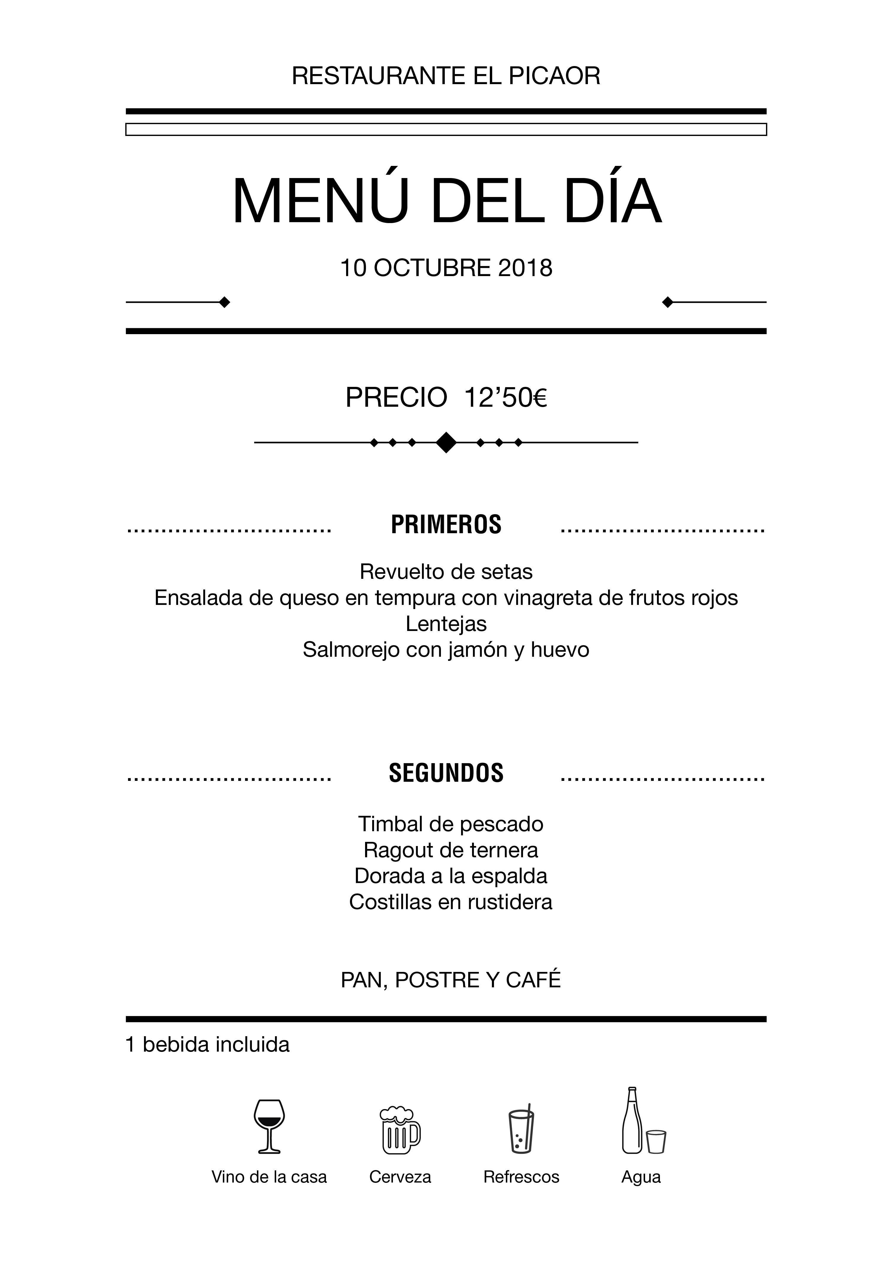 Menú diario El Picaor 08/10/18