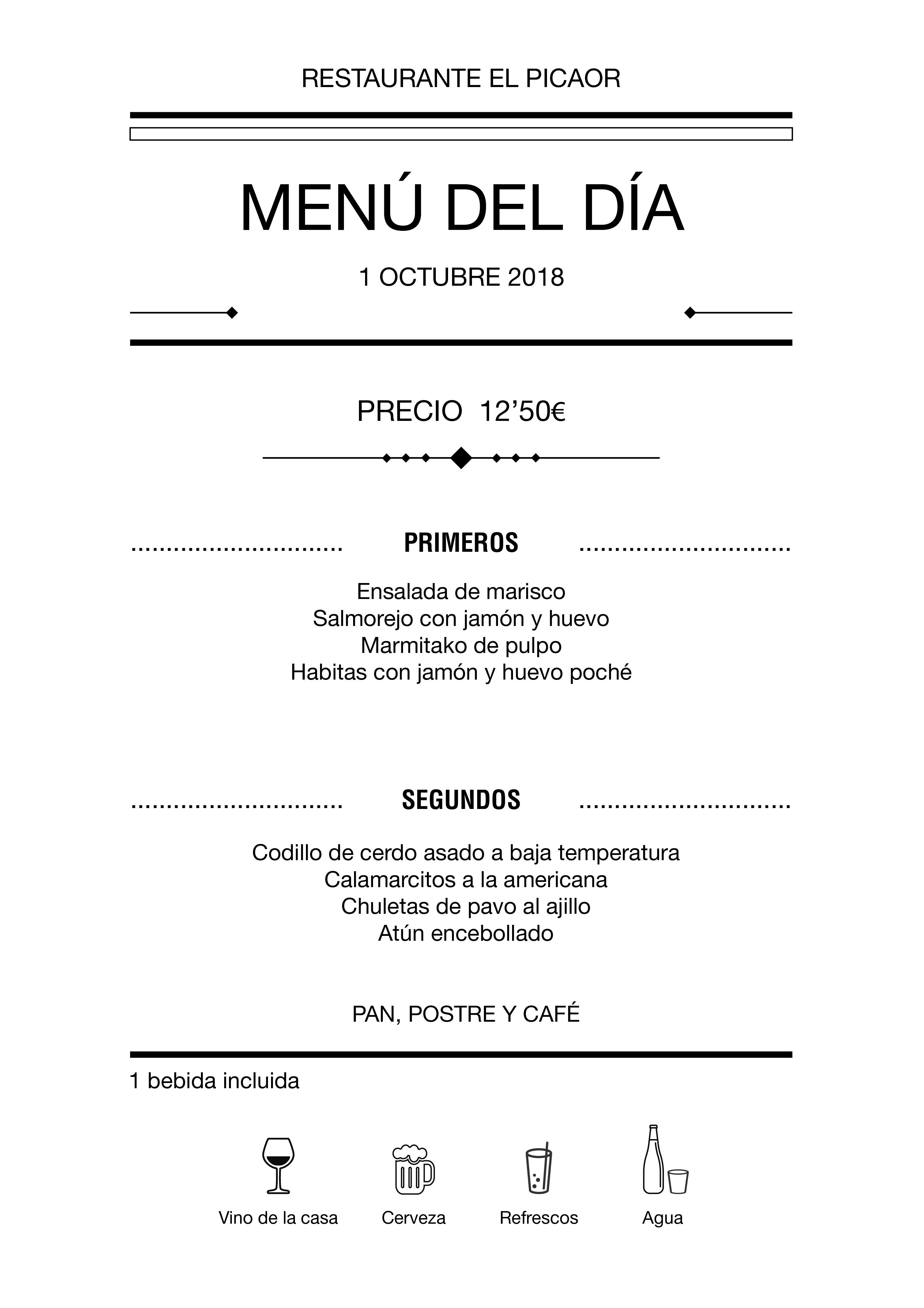 Menú diario El Picaor 01/10/18