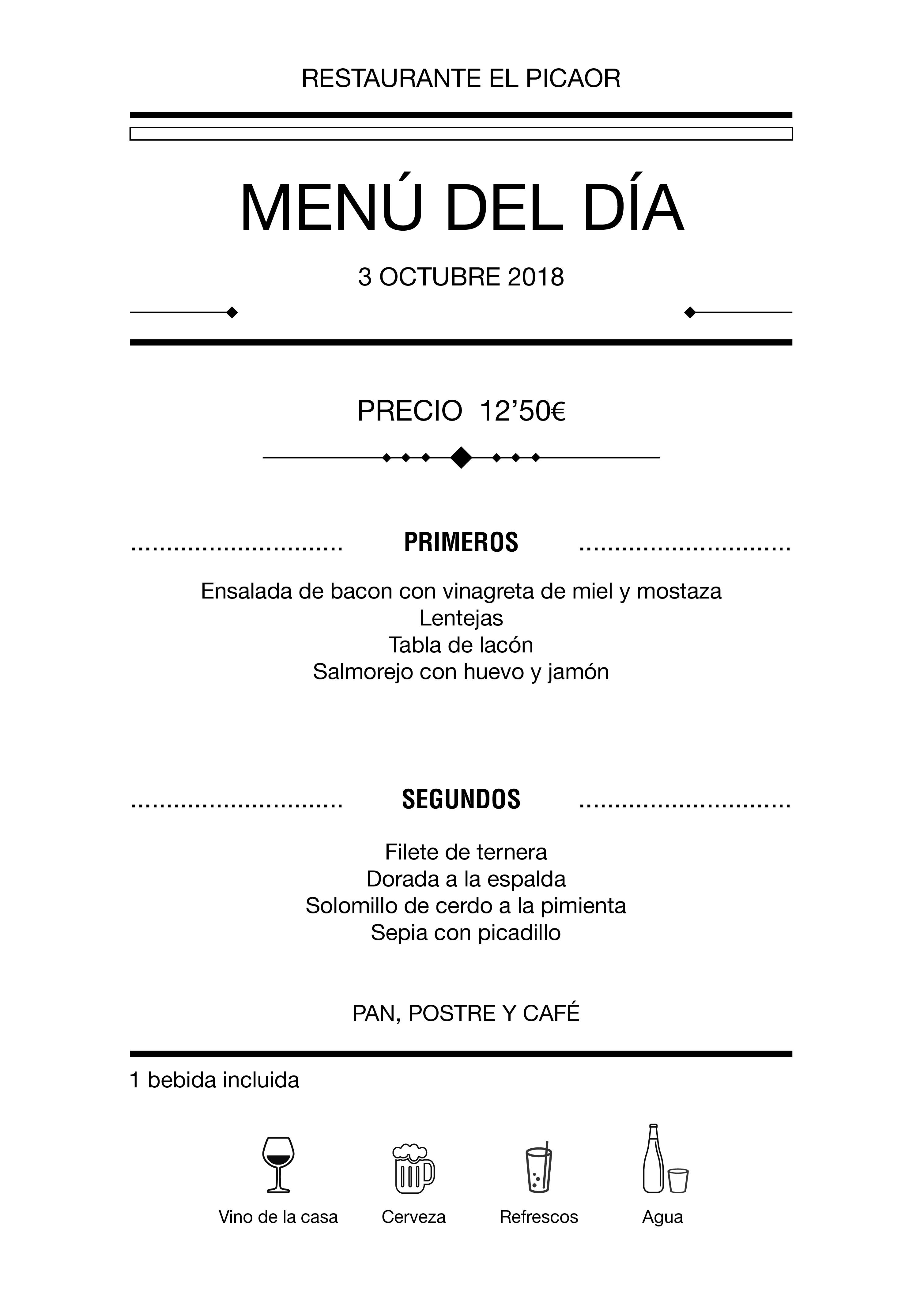 Menú diario El Picaor 03/10/18