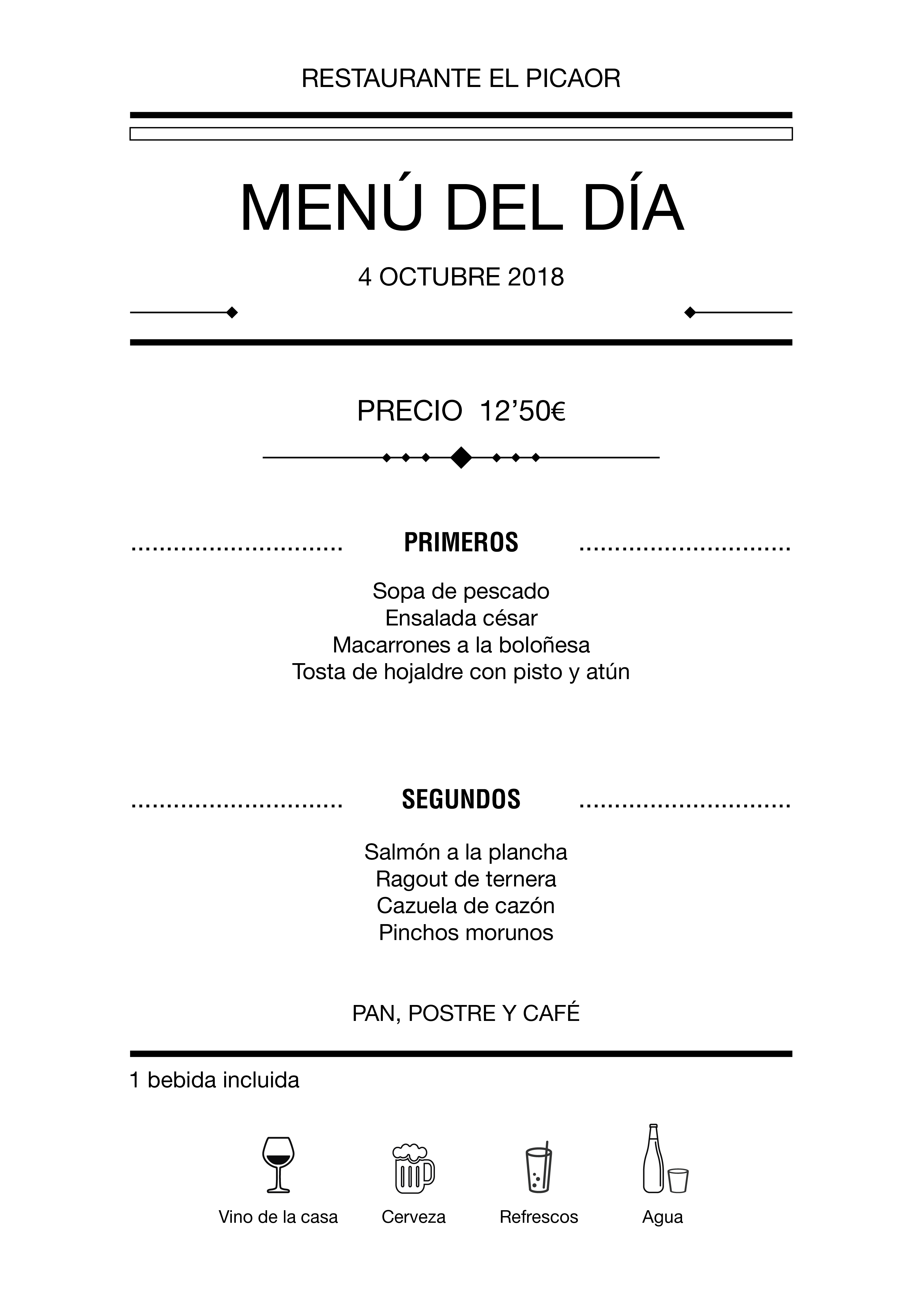 Menú diario El Picaor 04/10/18