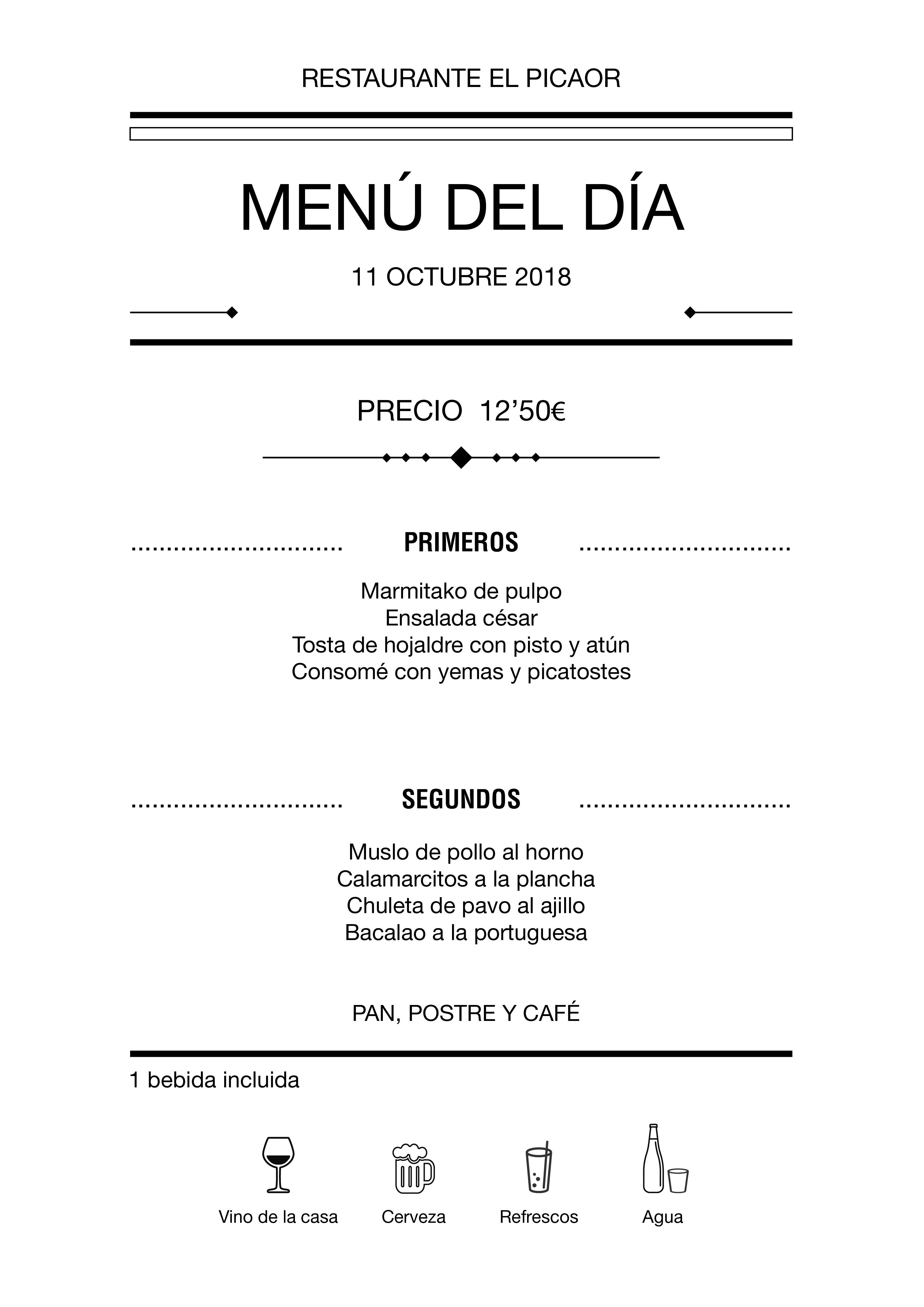 Menú diario El Picaor 11/10/18