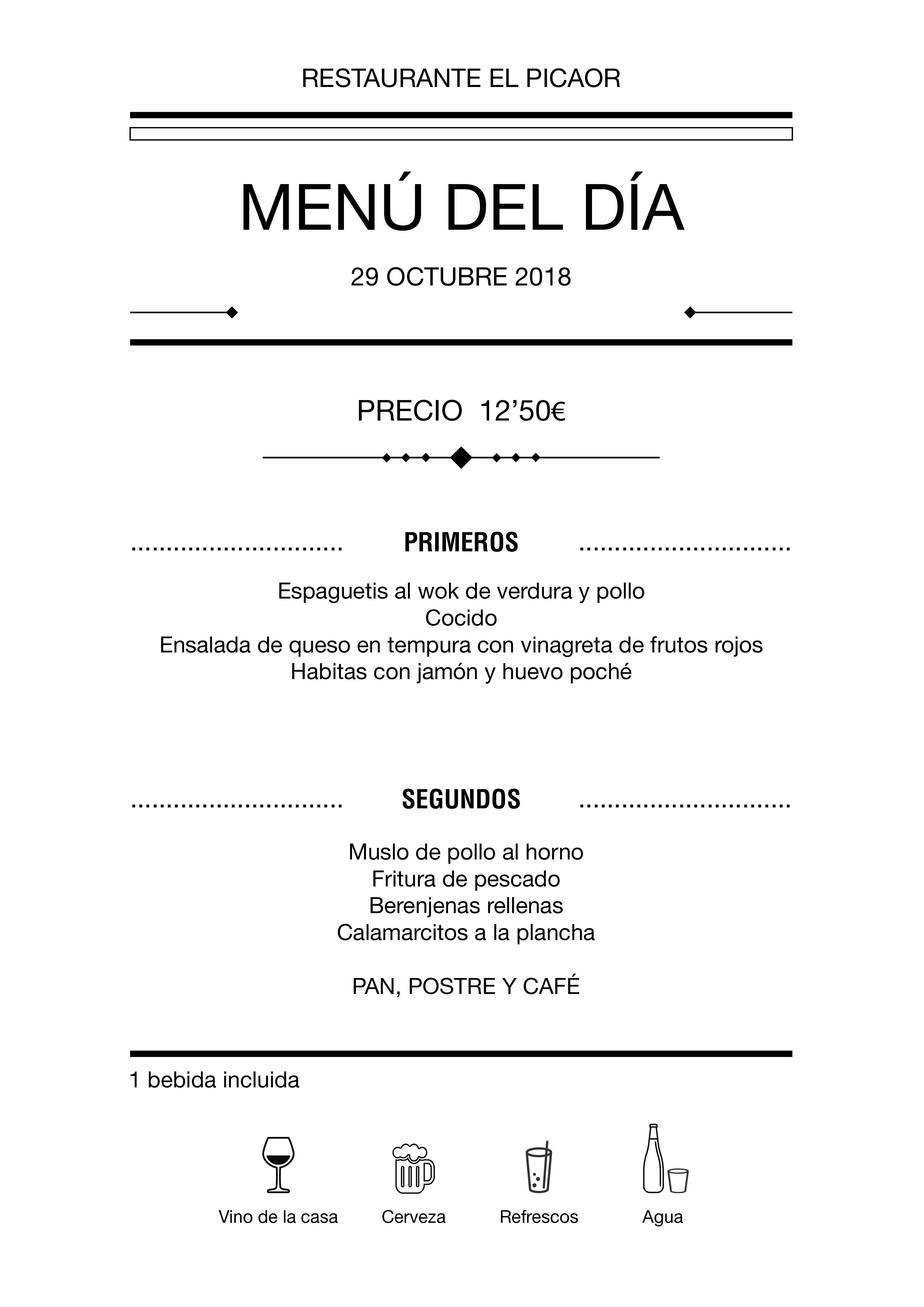Menú diario El Picaor 25/10/18