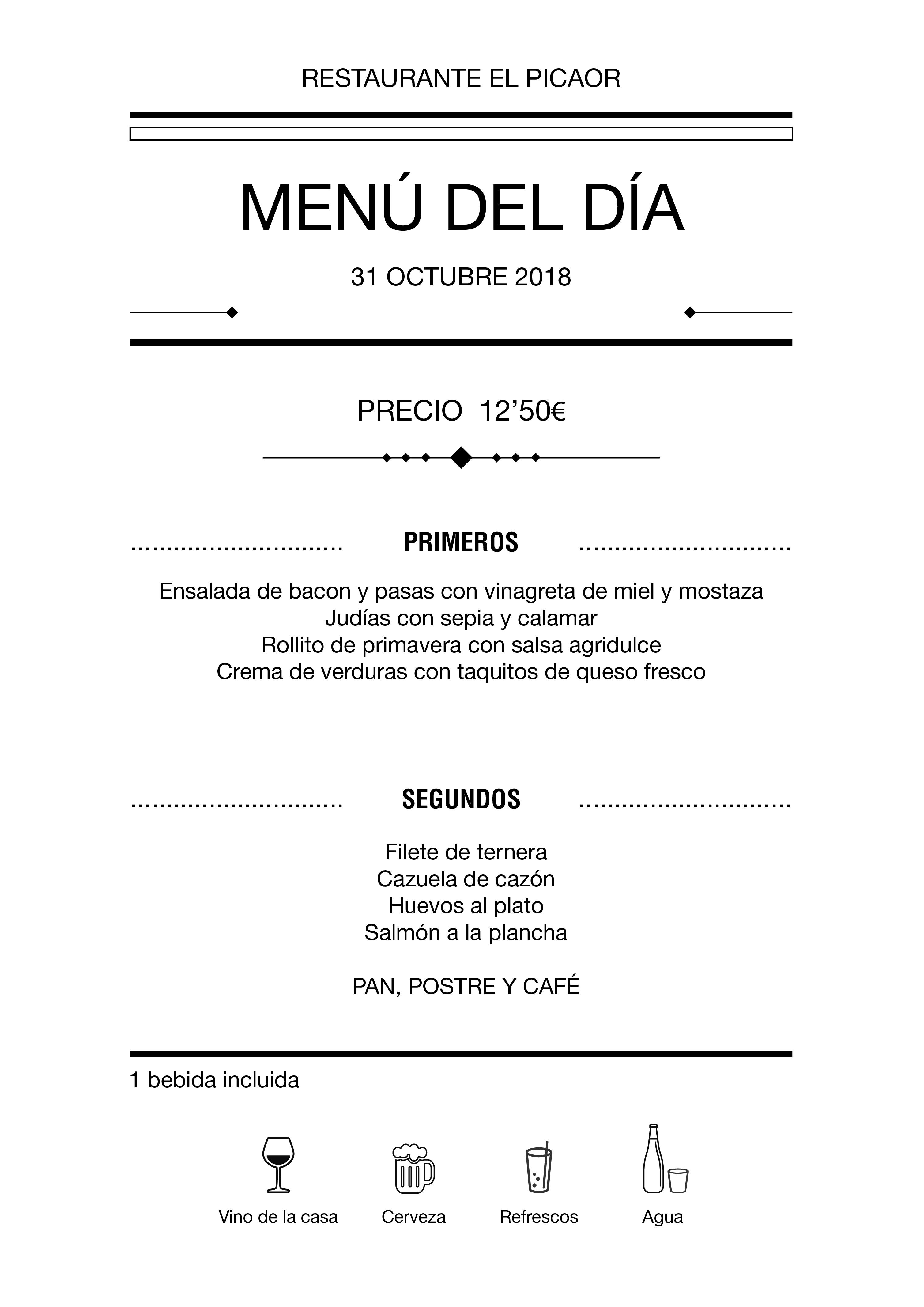 Menú diario El Picaor 30/10/18