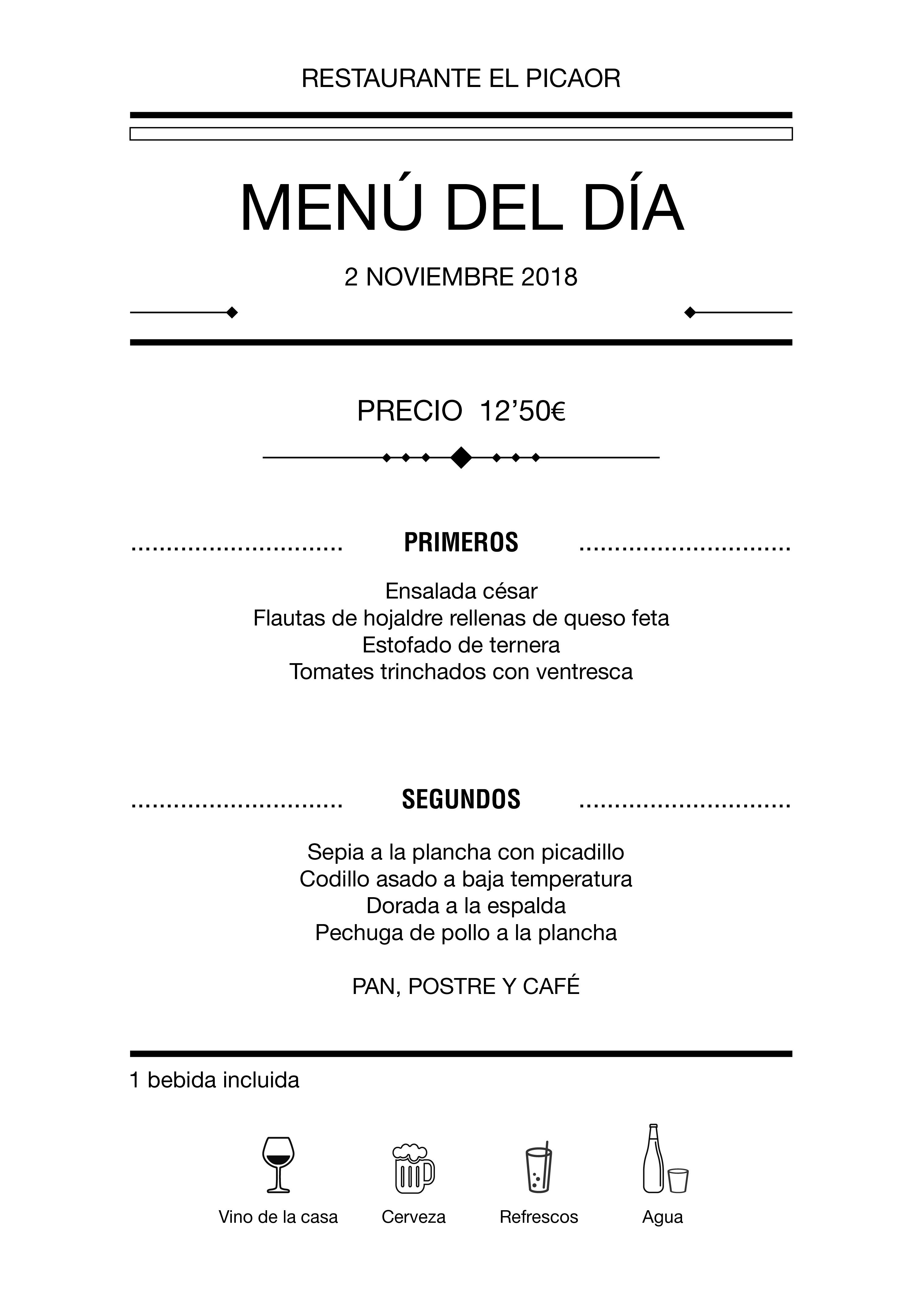 Menú diario El Picaor 02/11/18