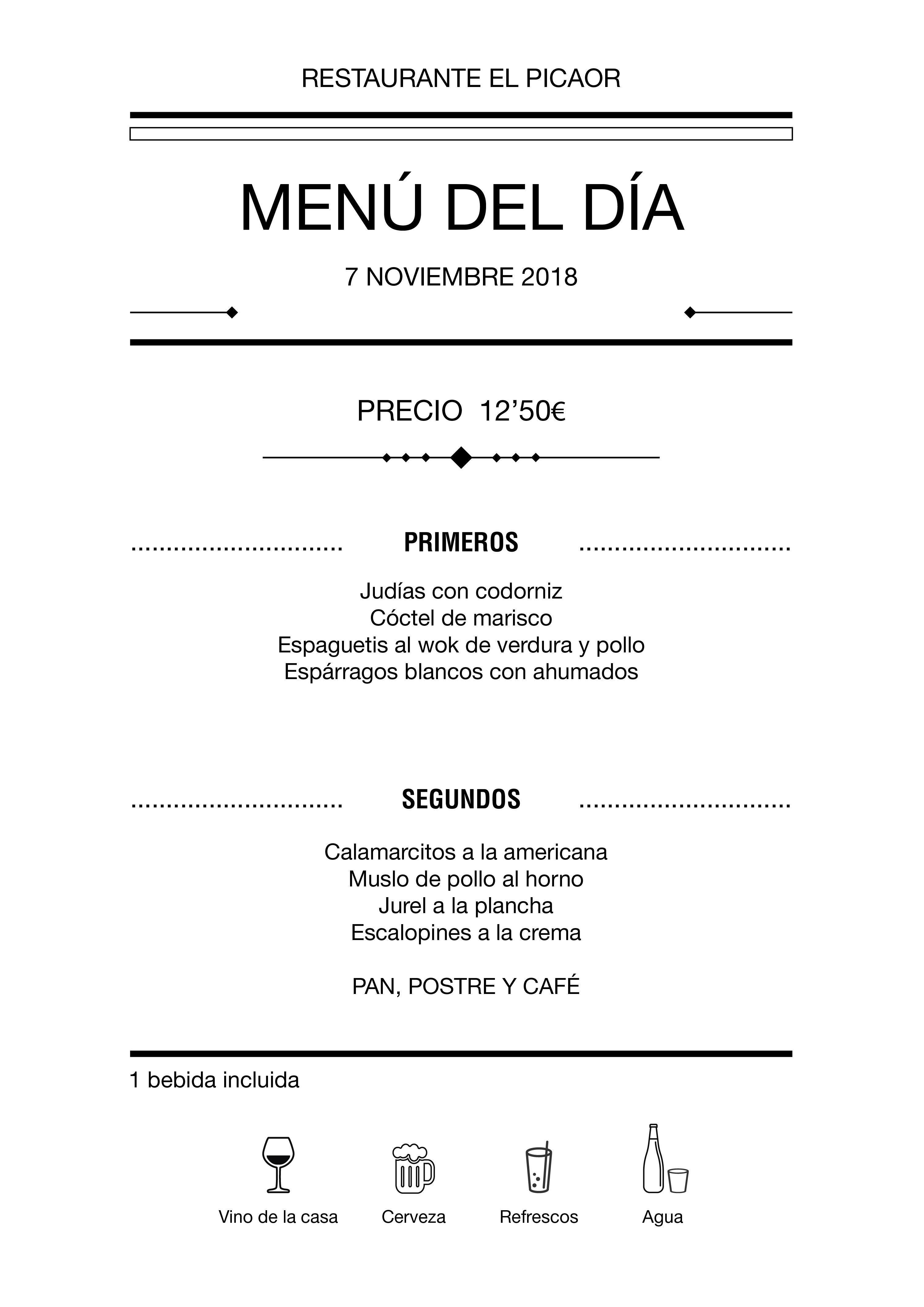 Menú diario El Picaor 07/11/18