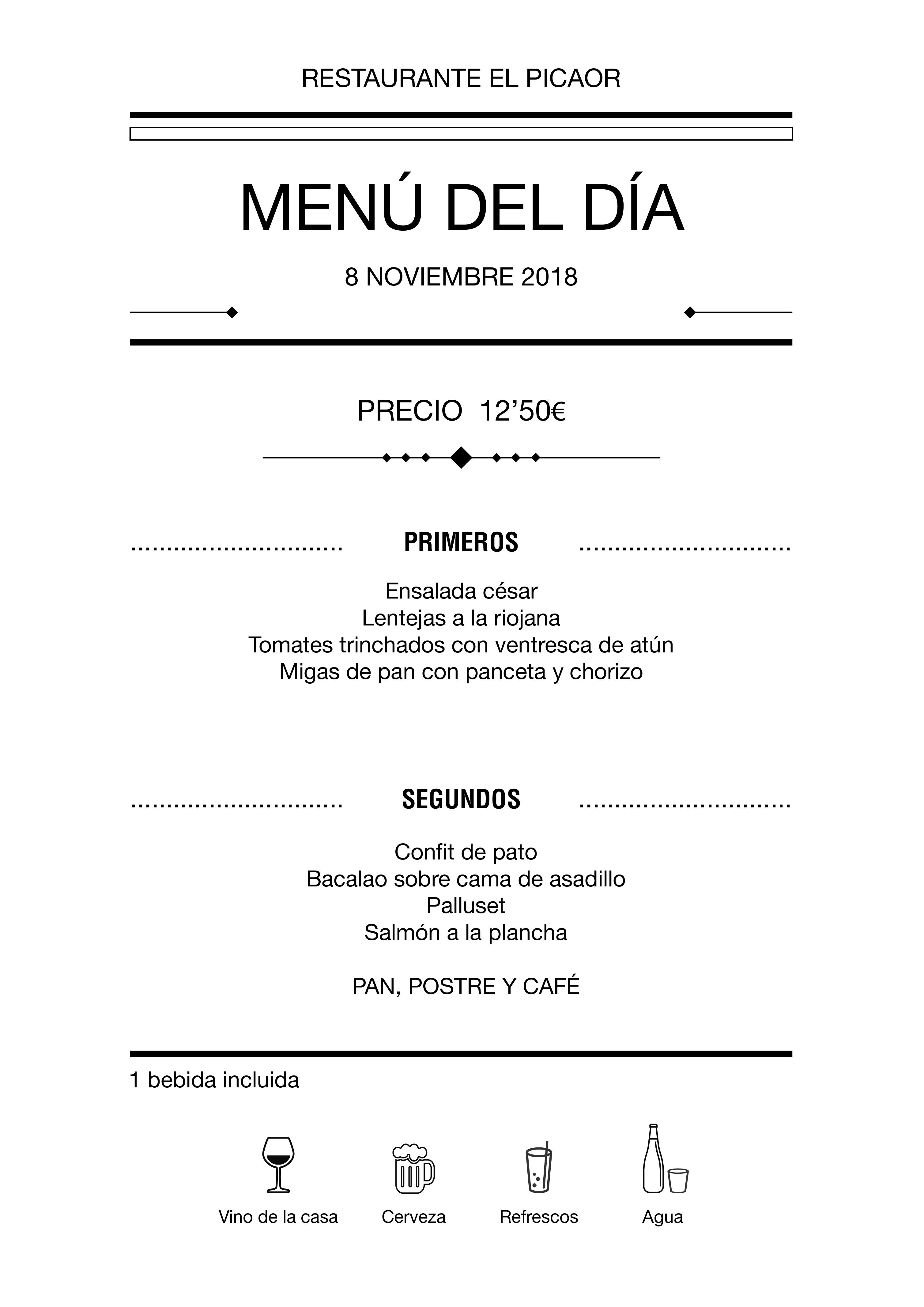 Menú diario El Picaor 08/11/18