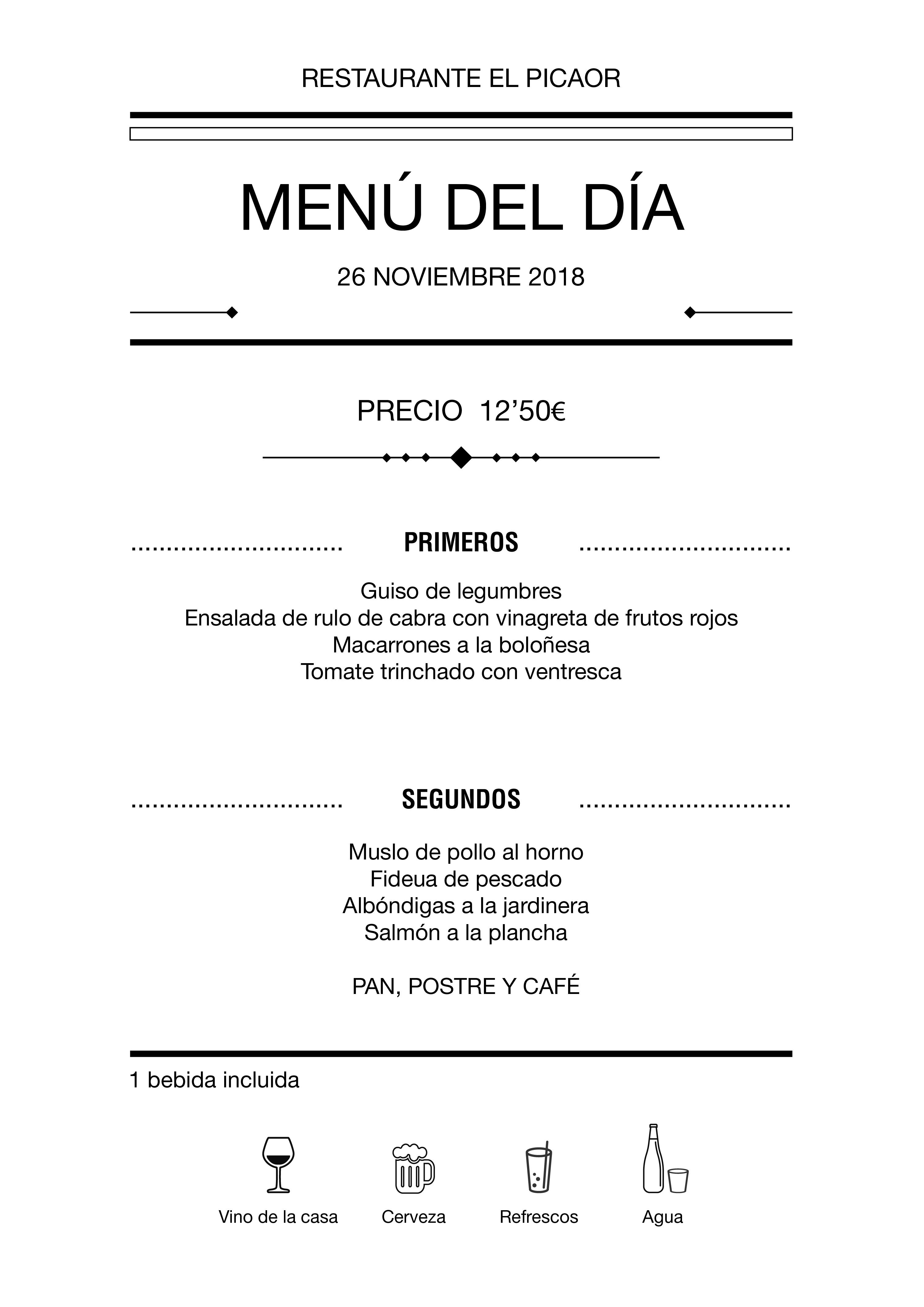 Menú diario El Picaor 20/11/18