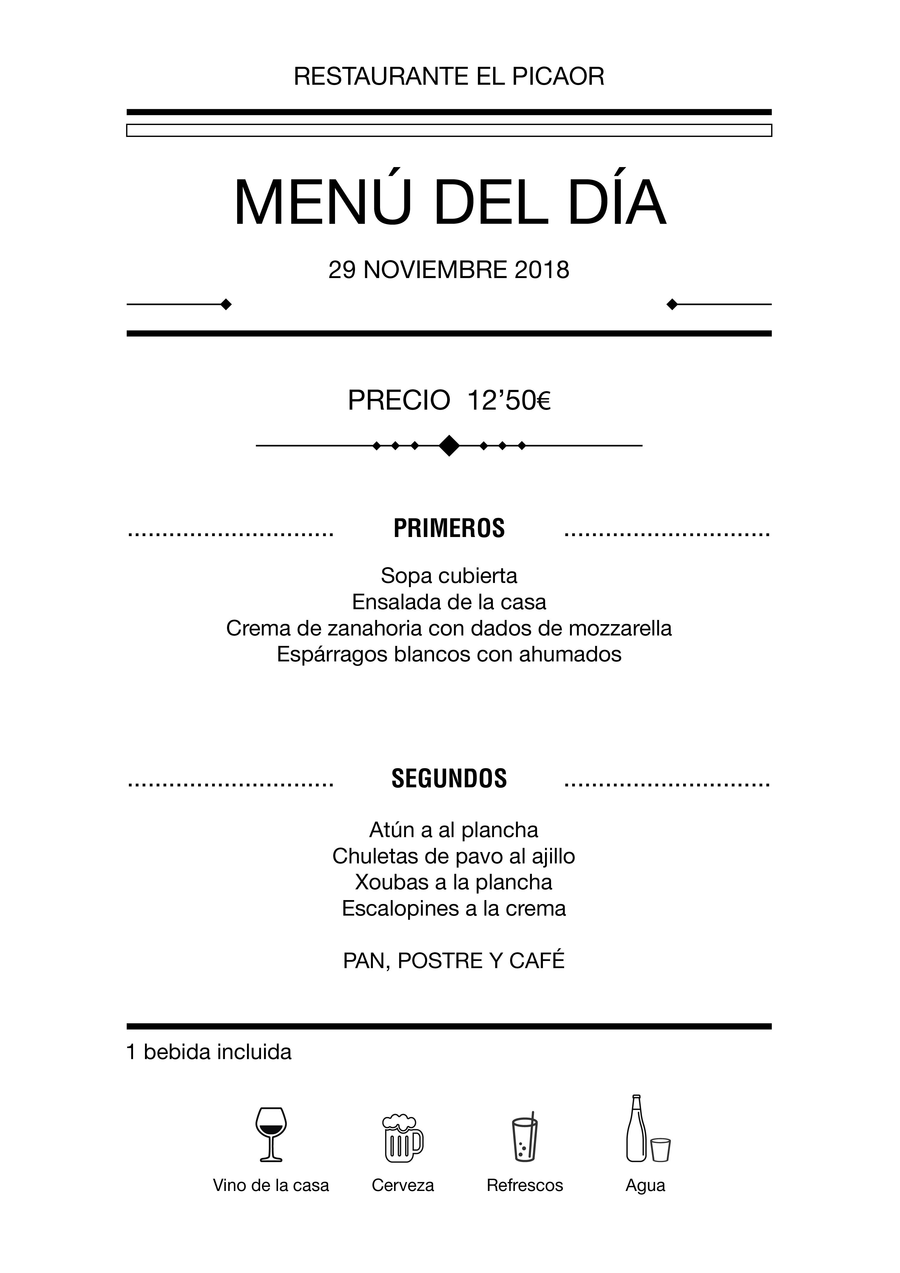 Menú diario El Picaor 28/11/18