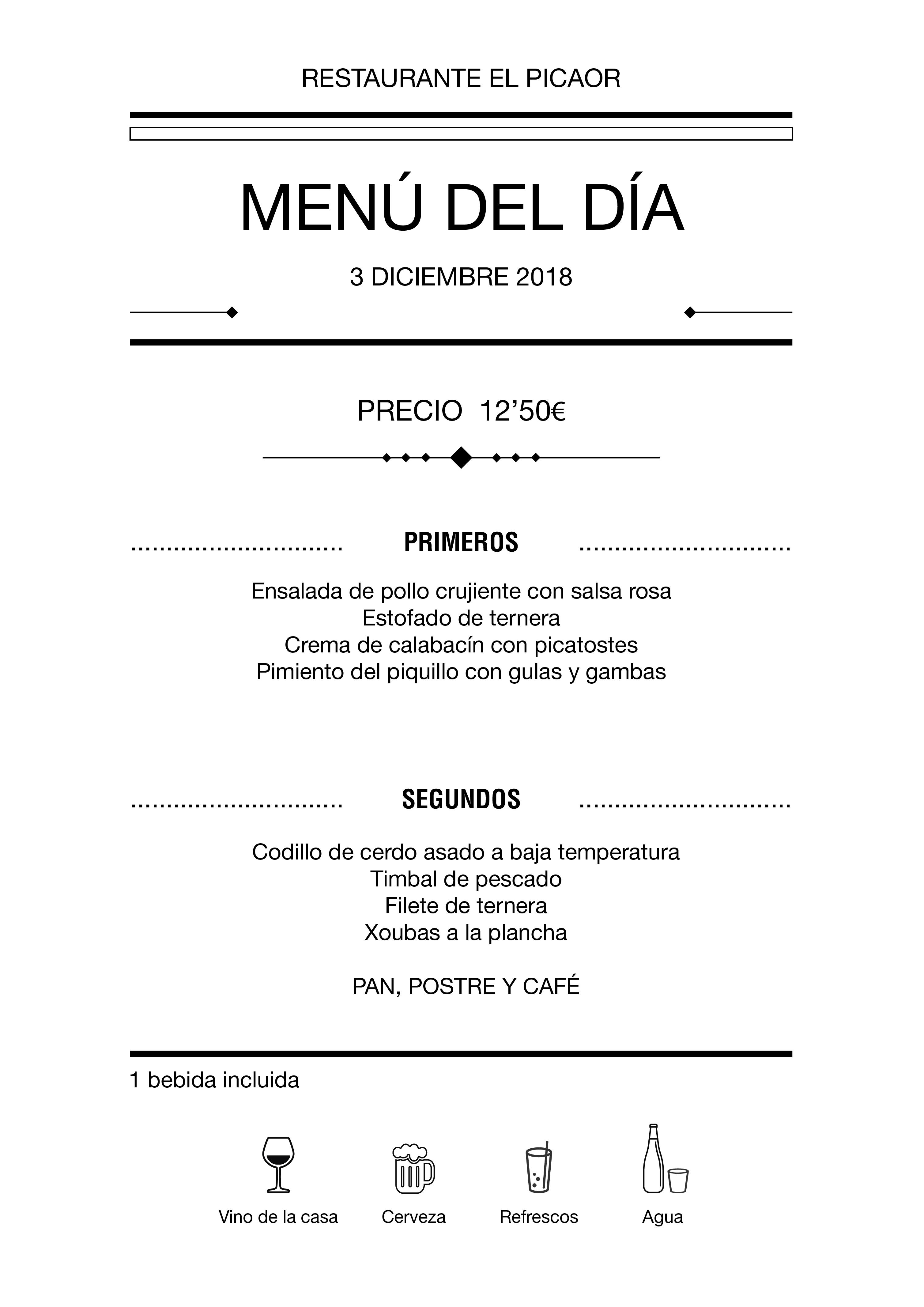 Menú diario El Picaor 03/12/18