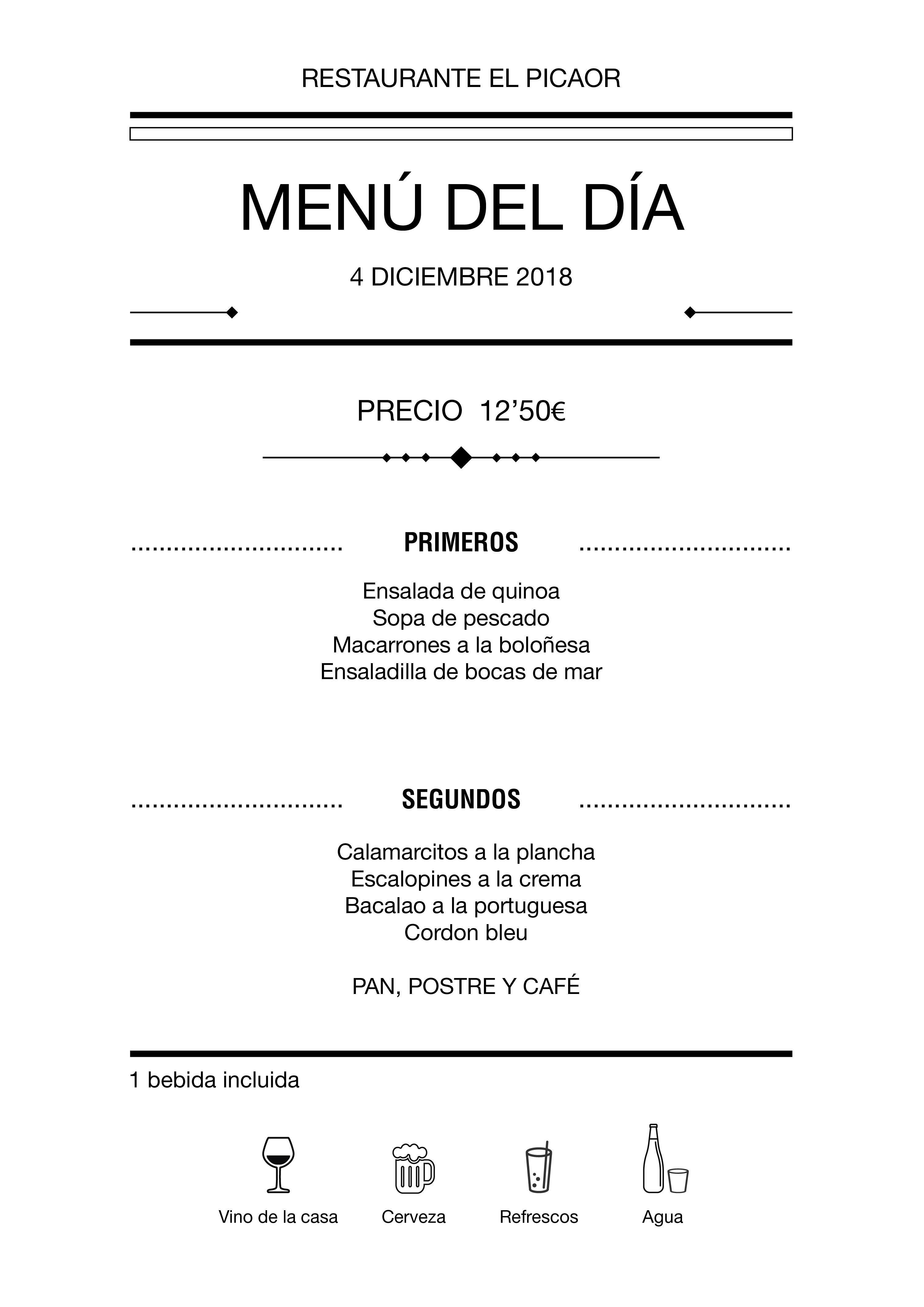 Menú diario El Picaor 04/12/18