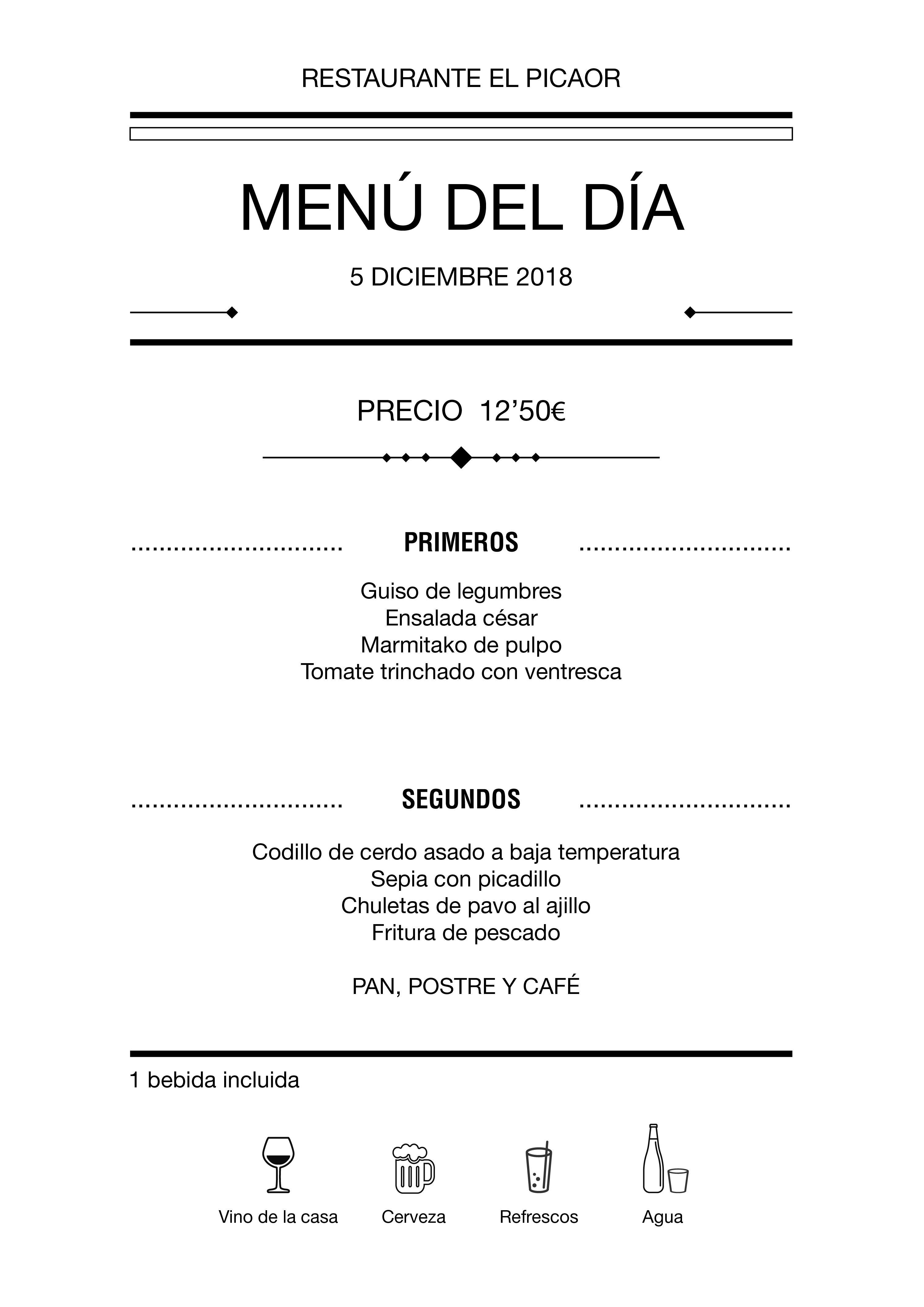 Menú diario El Picaor 05/12/18