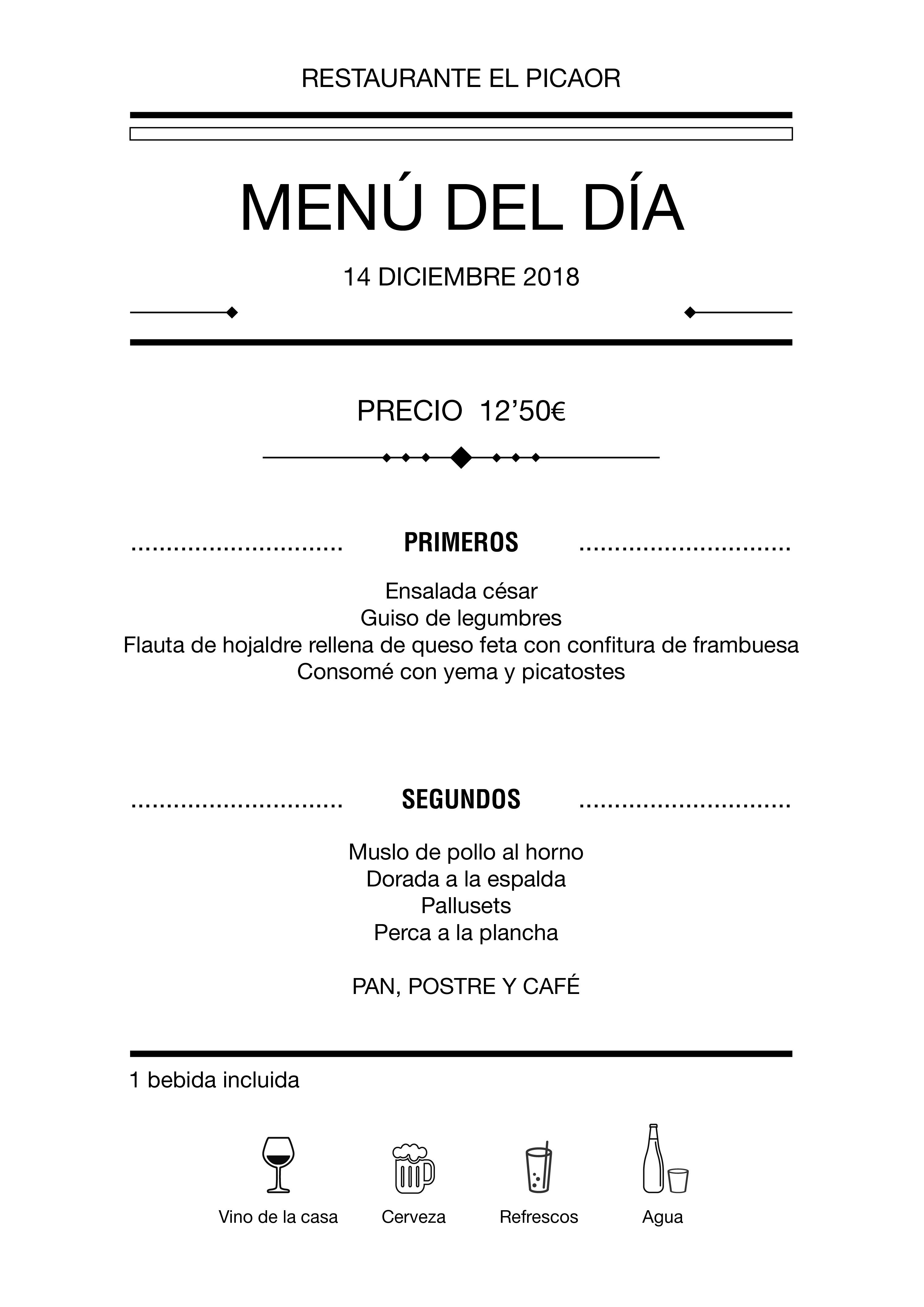 Menú diario El Picaor 14/12/18