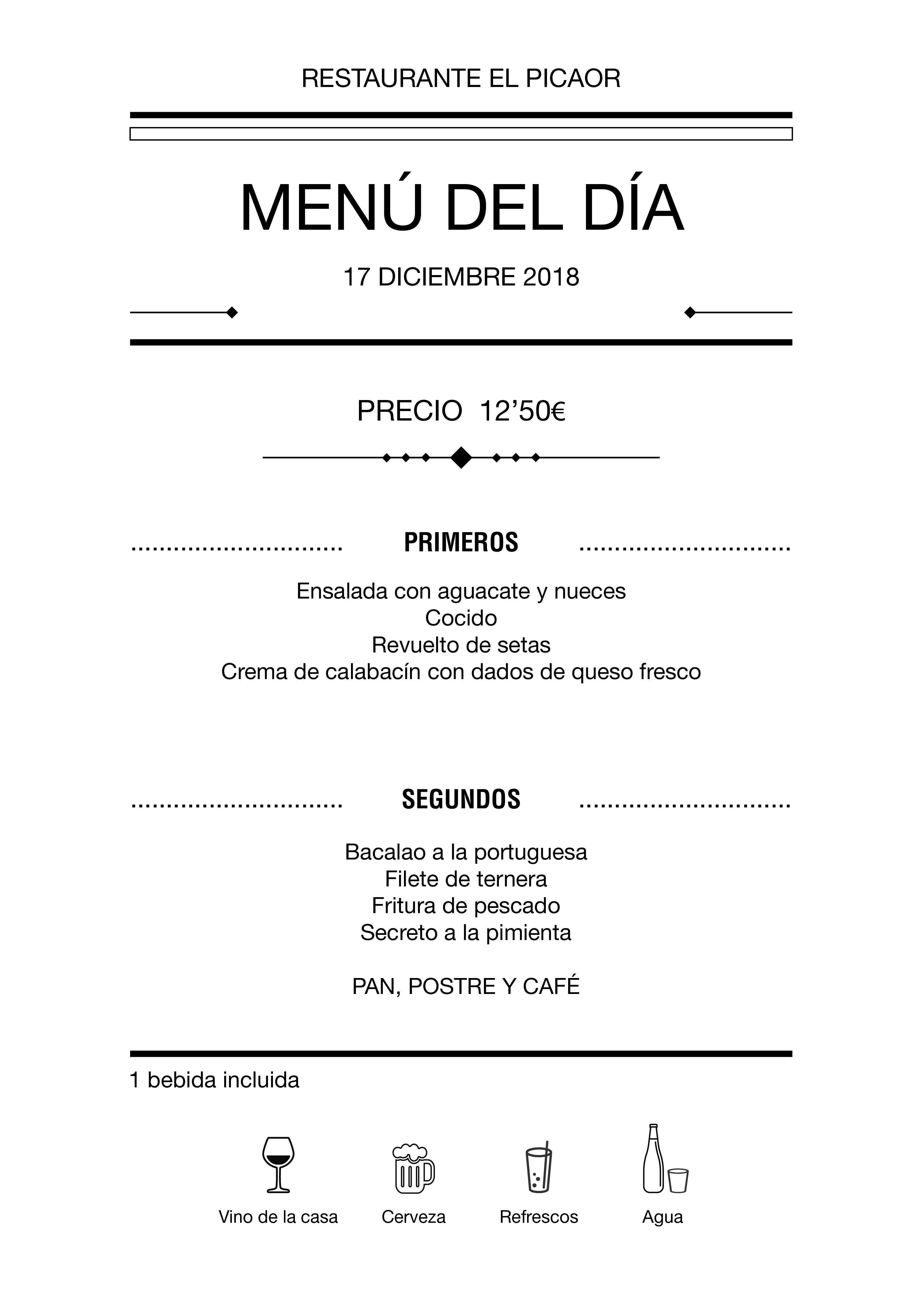 Menú diario El Picaor 17/12/18