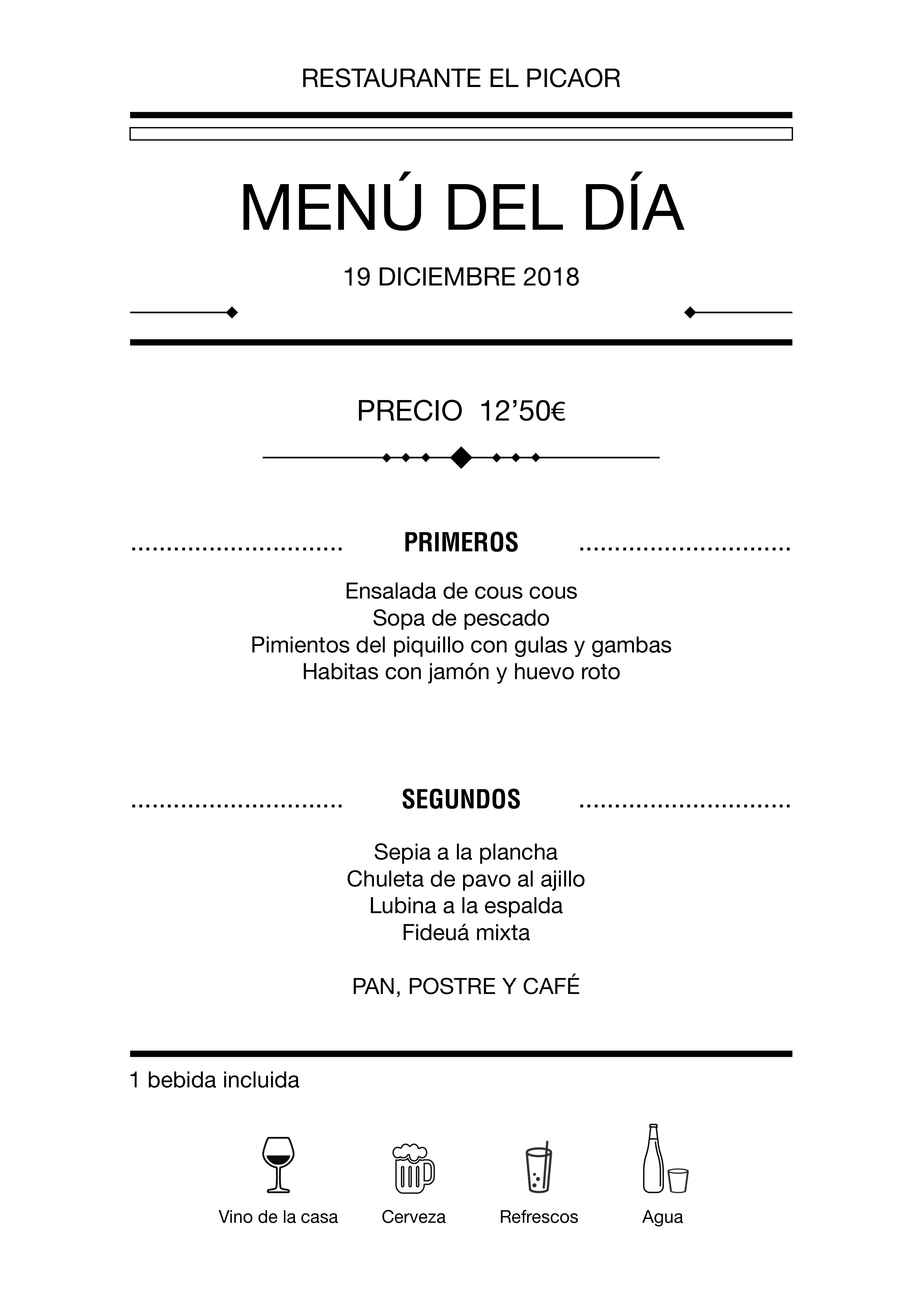 Menú diario El Picaor 19/12/18