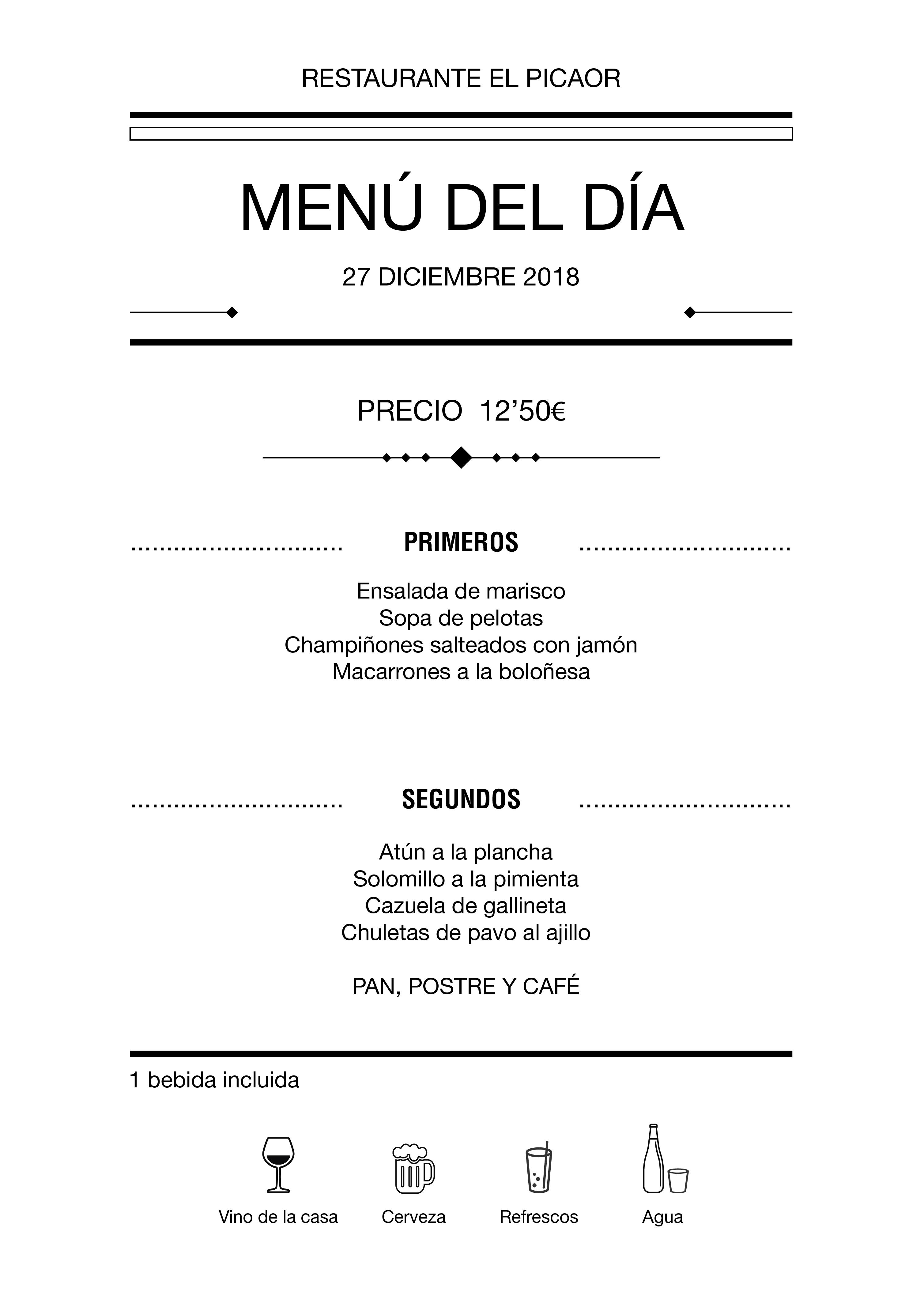 Menú diario El Picaor 27/12/18