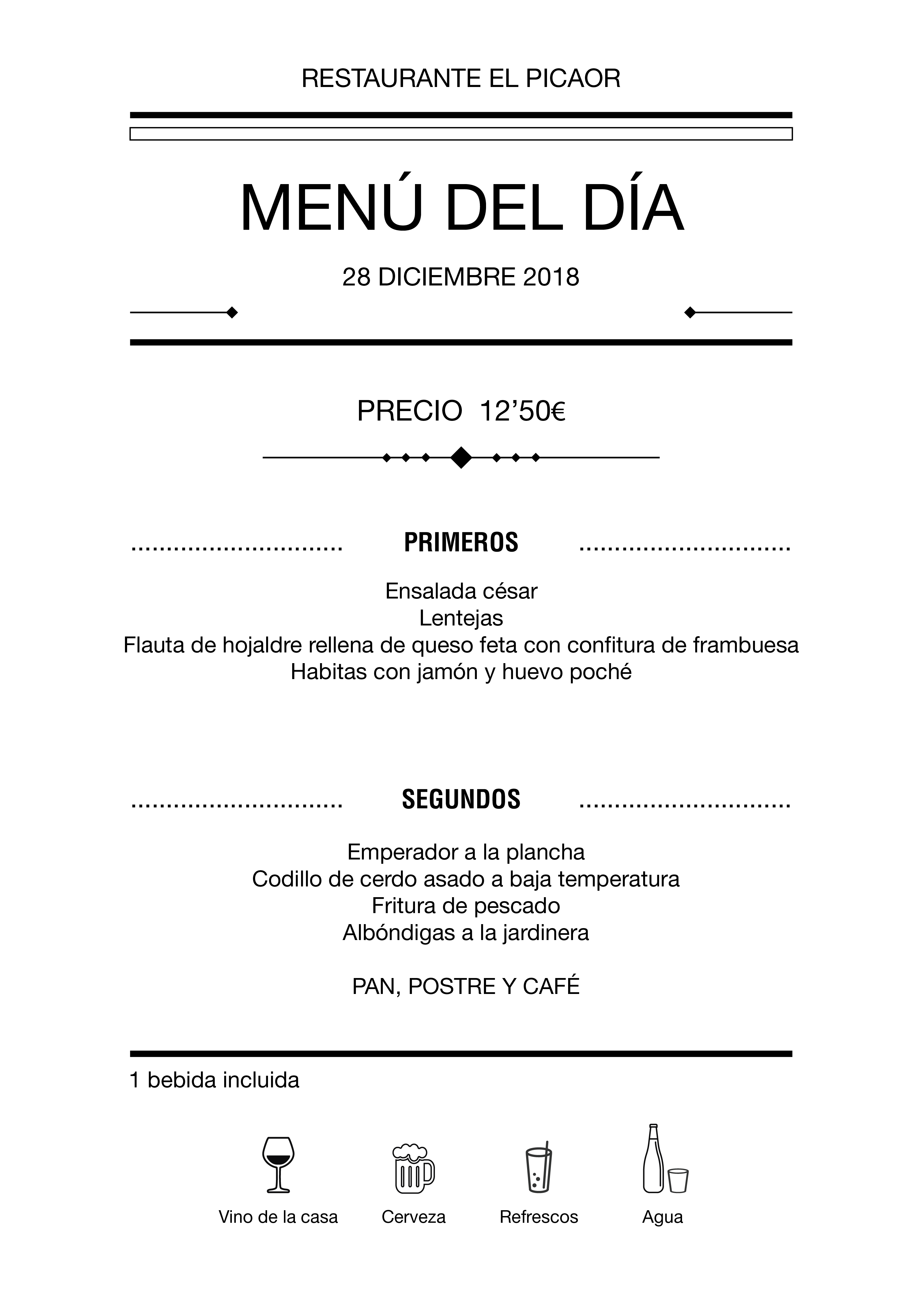 Menú diario El Picaor 28/12/18