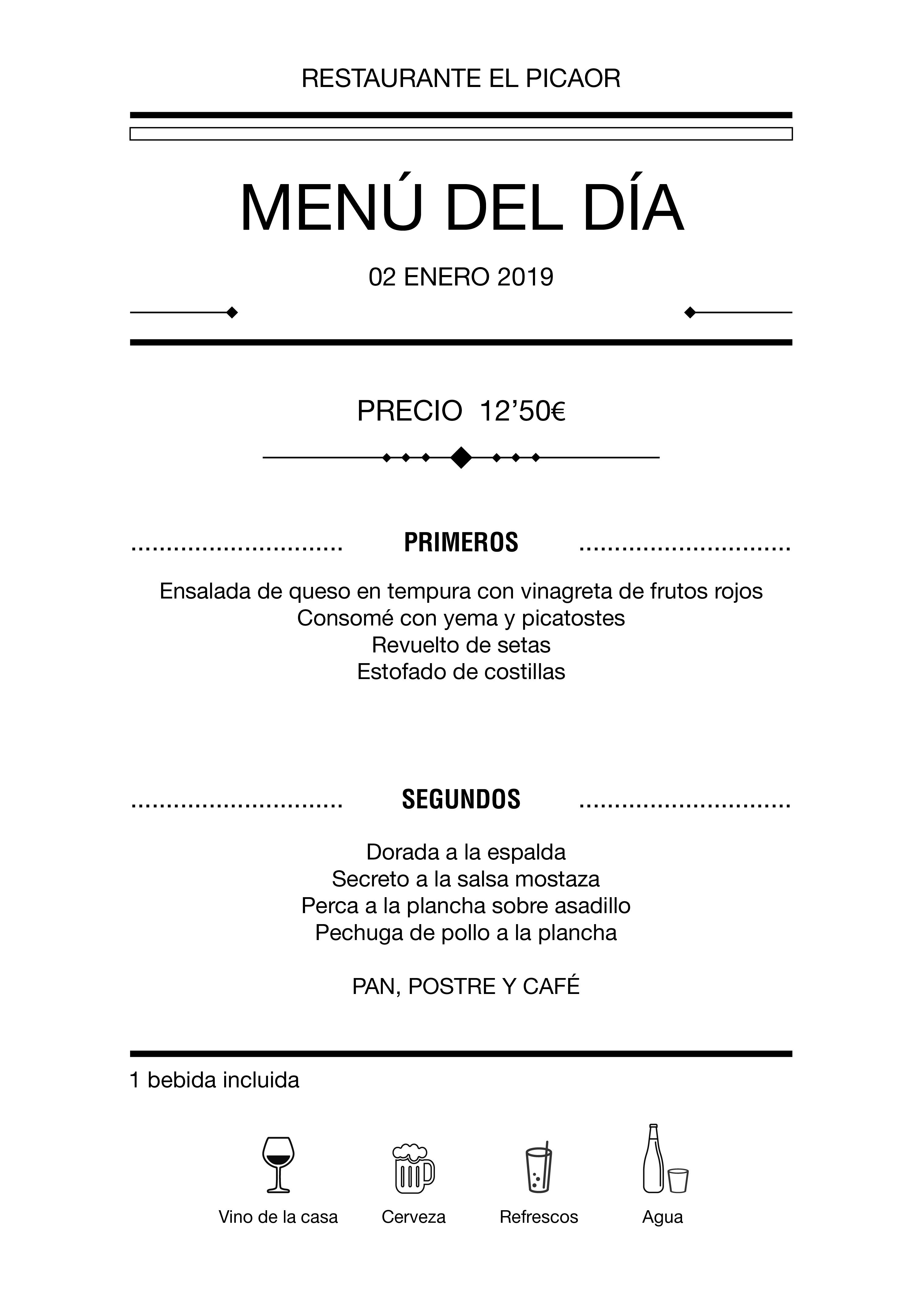 Menú diario El Picaor 02/01/19
