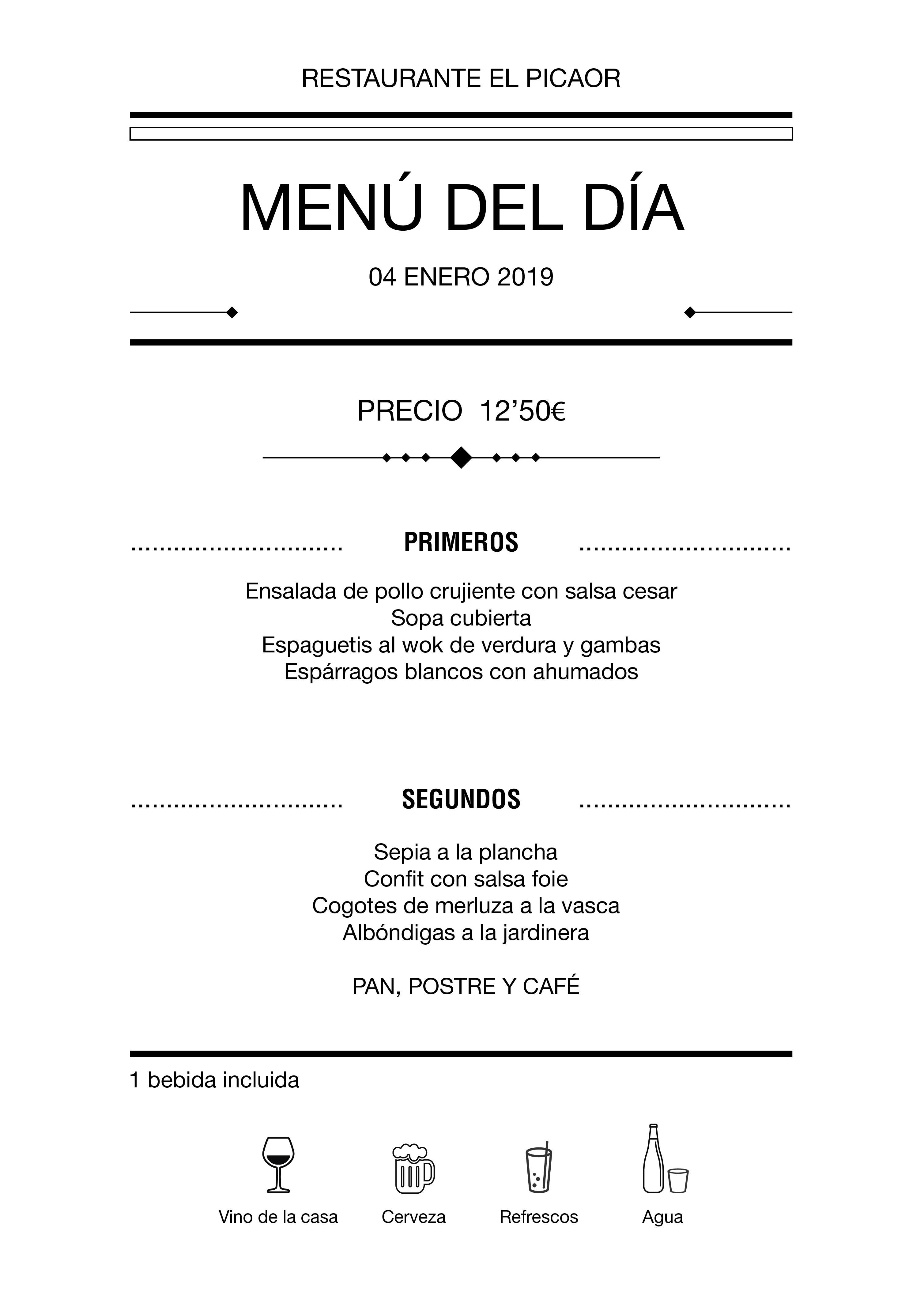 Menú diario El Picaor 04/01/19