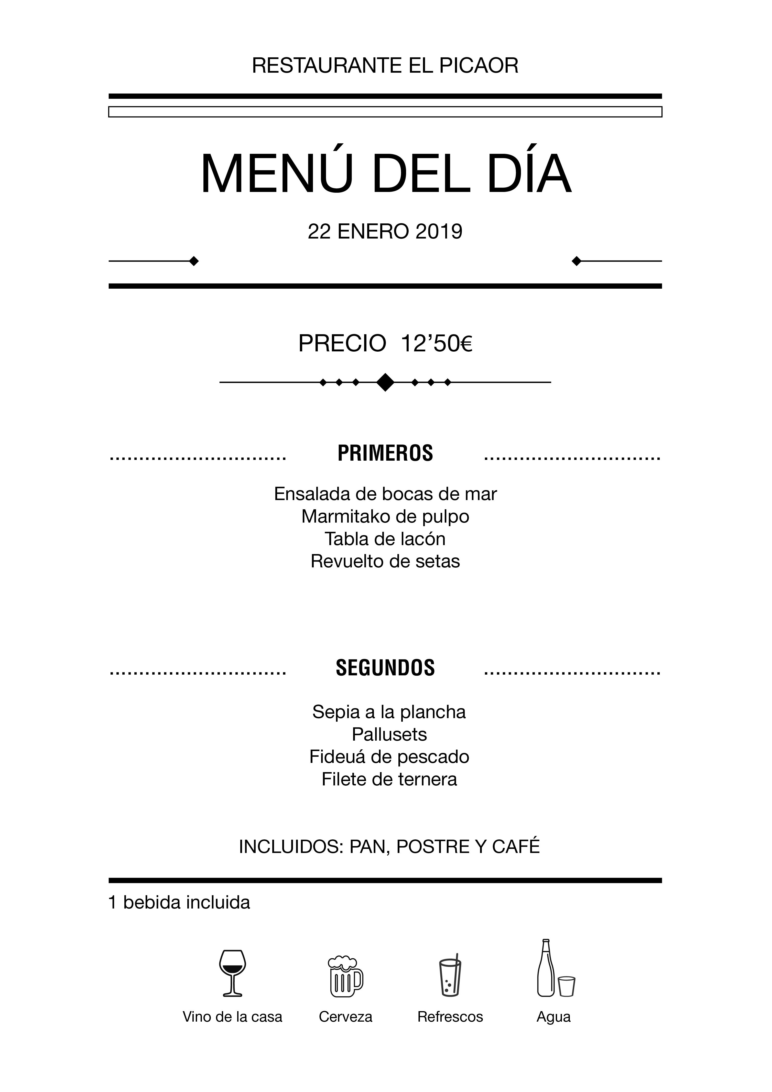 Menú diario El Picaor 18/01/19