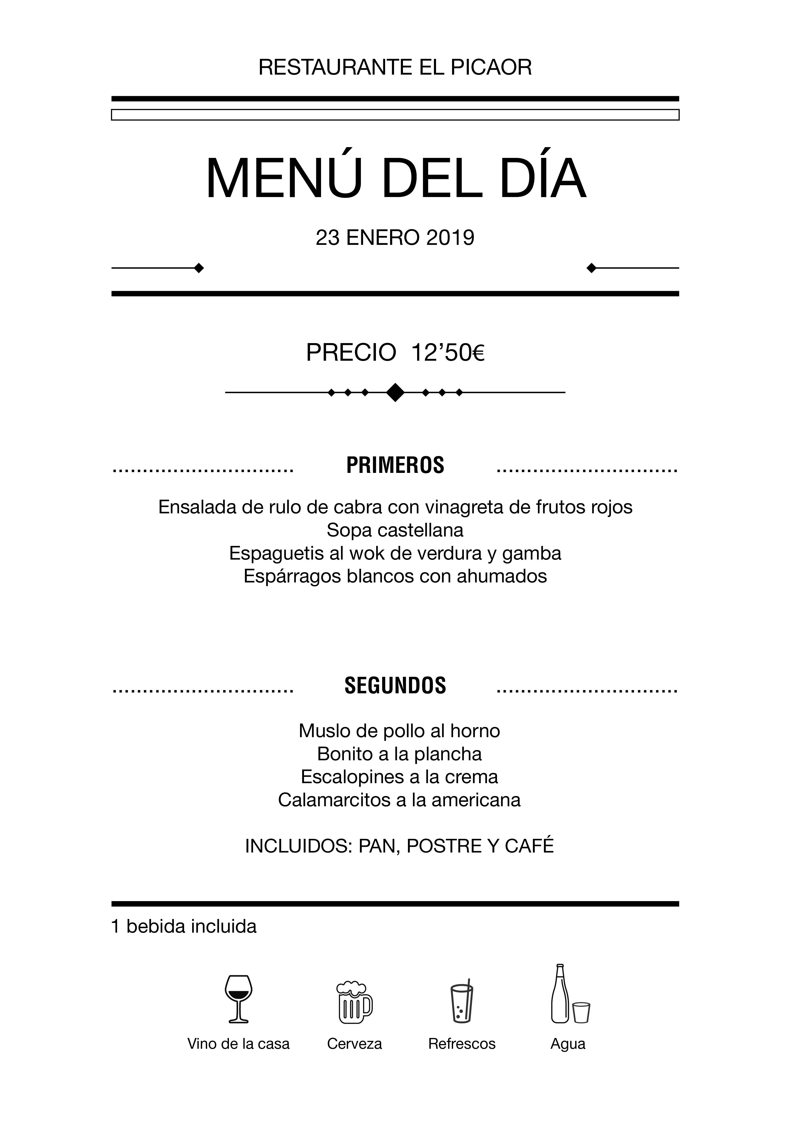 Menú diario El Picaor 23/01/19