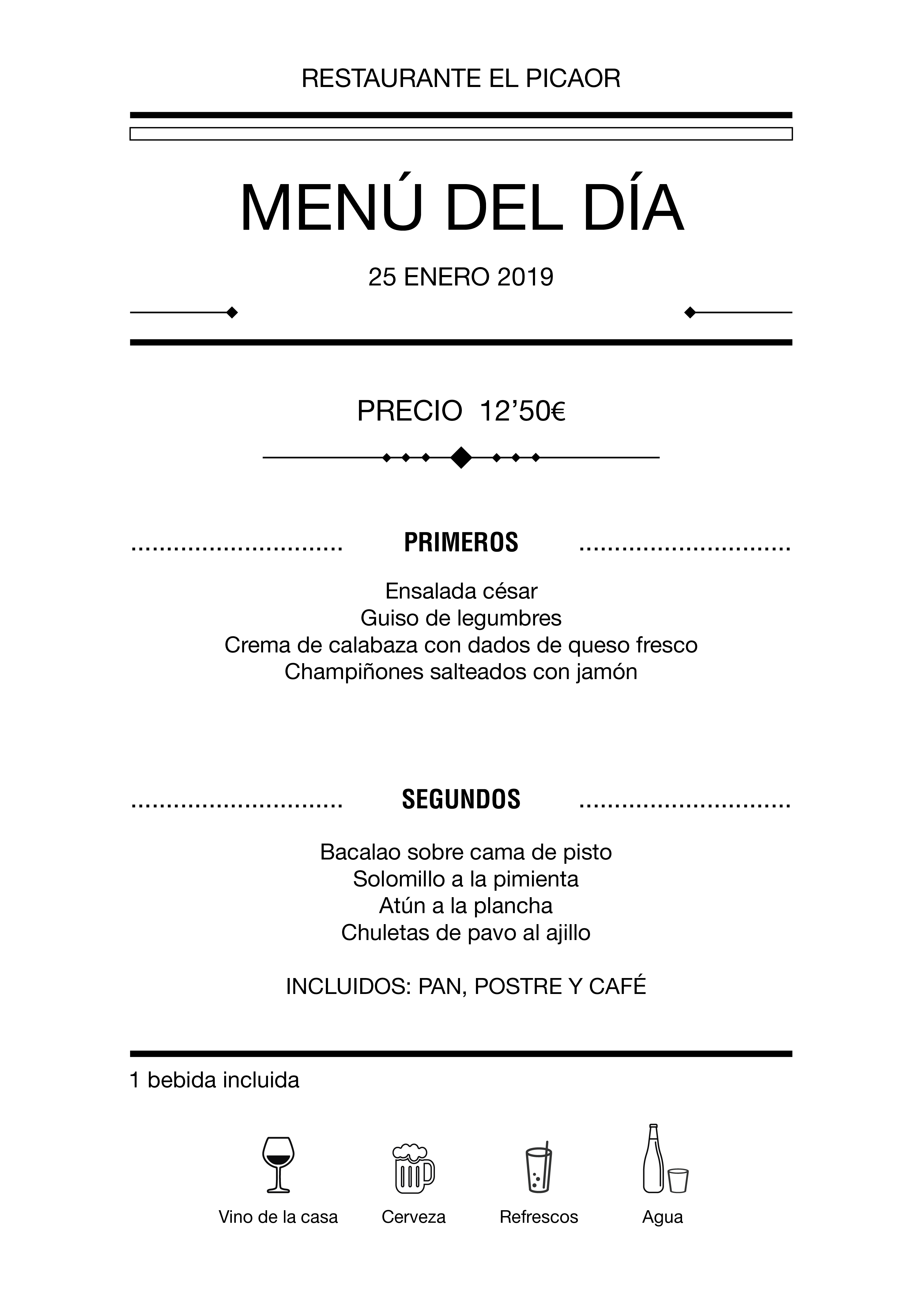 Menú diario El Picaor 25/01/19
