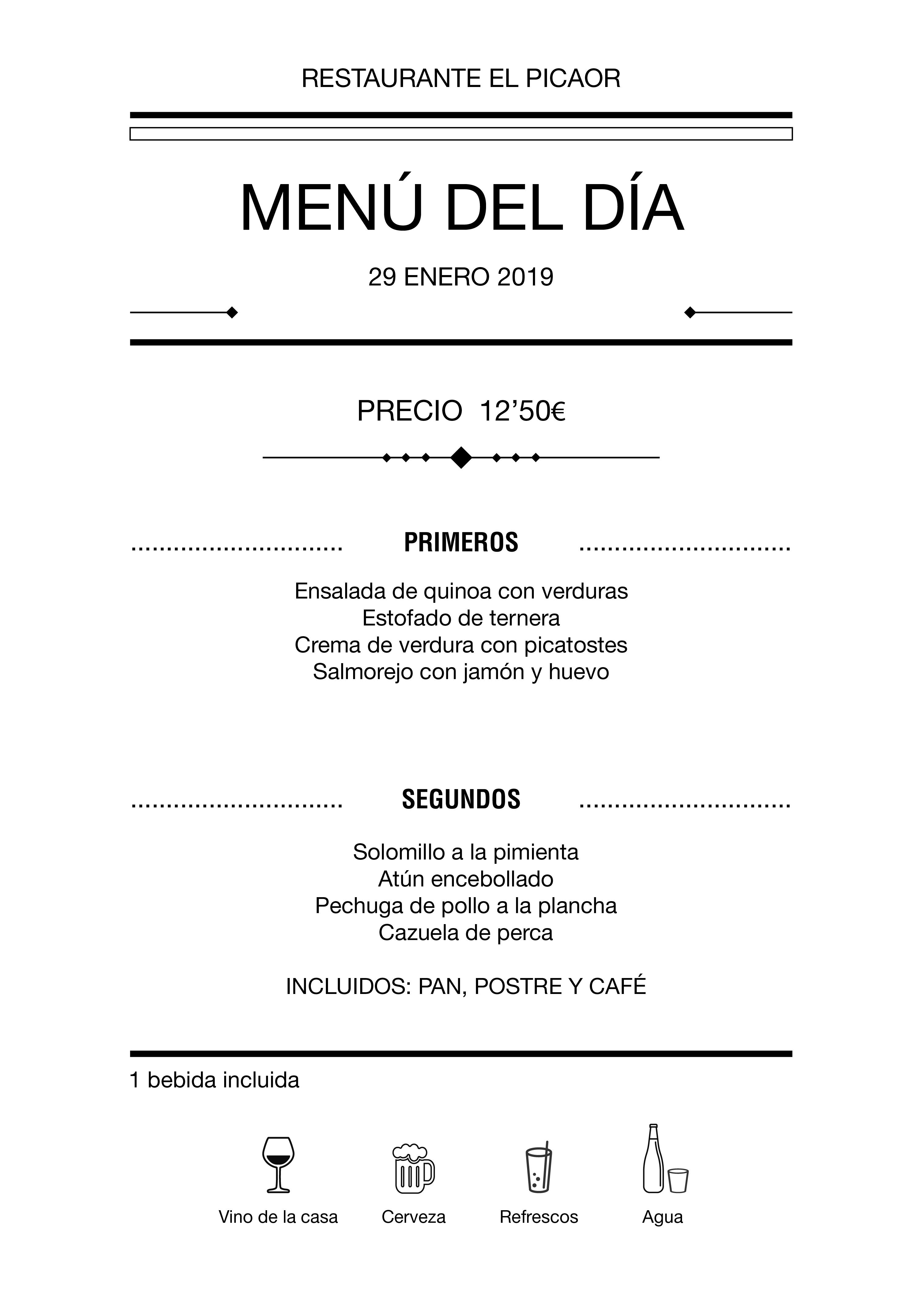 Menú diario El Picaor 29/01/19