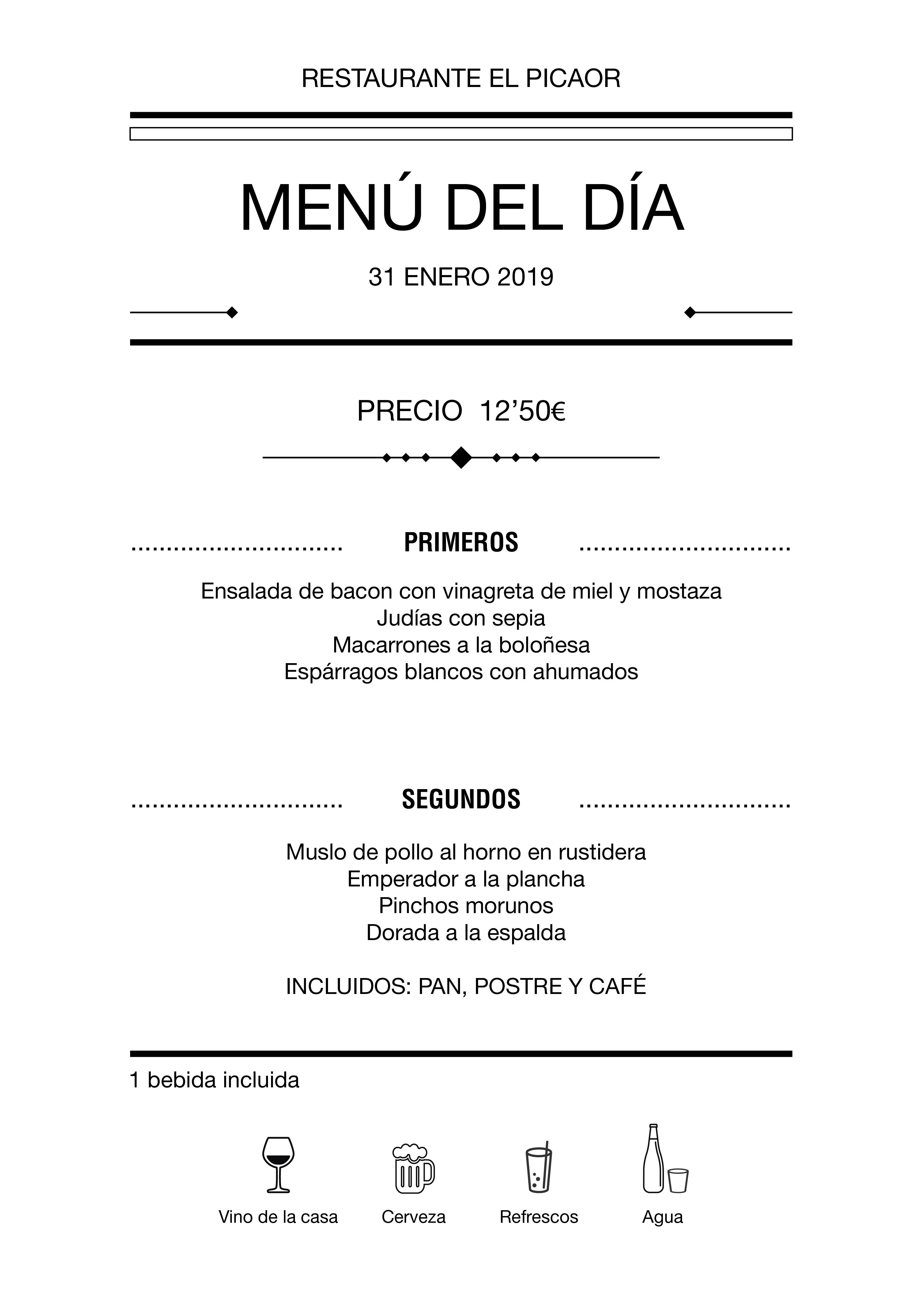 Menú diario El Picaor 31/01/19