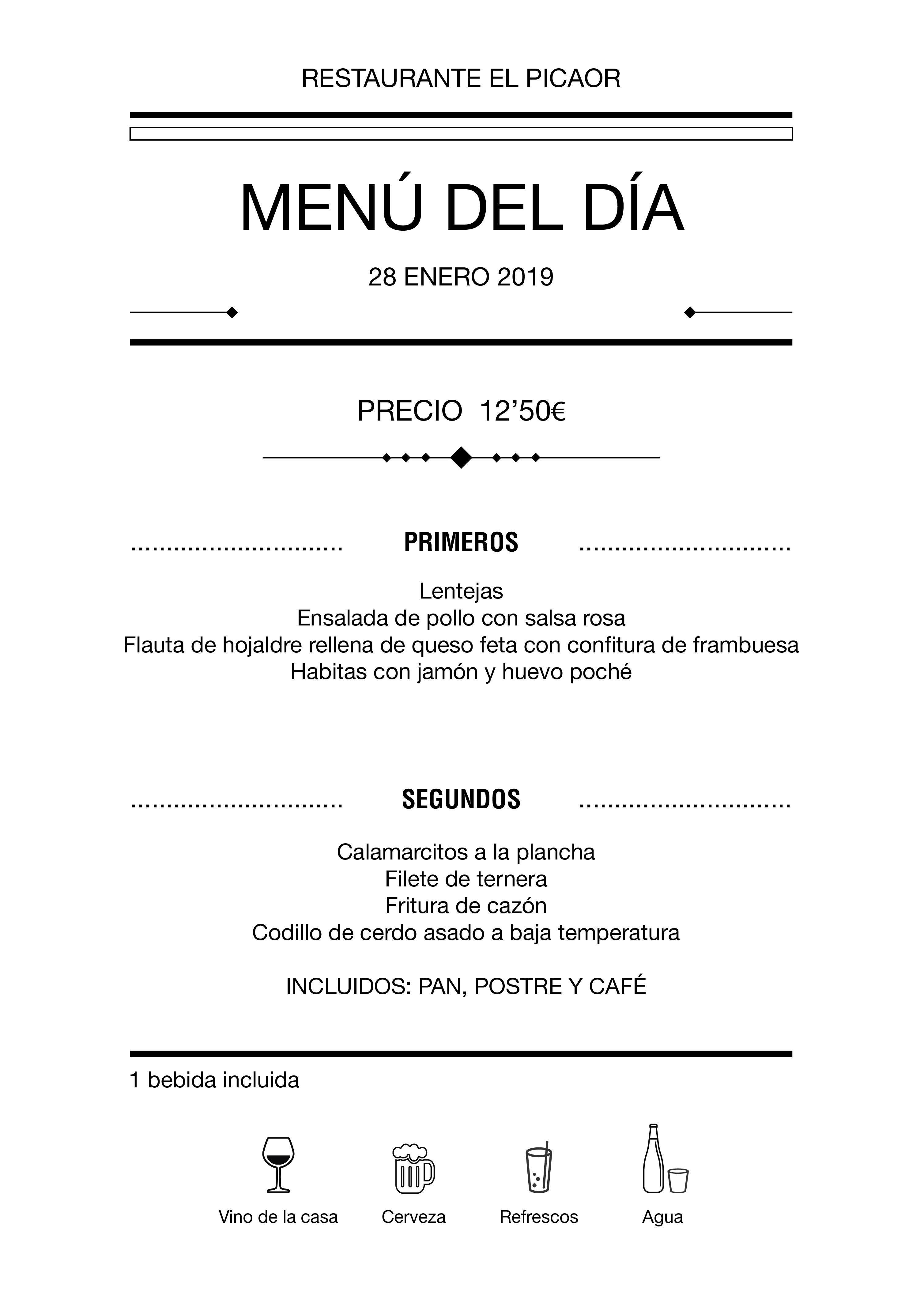 Menú diario El Picaor 28/01/19